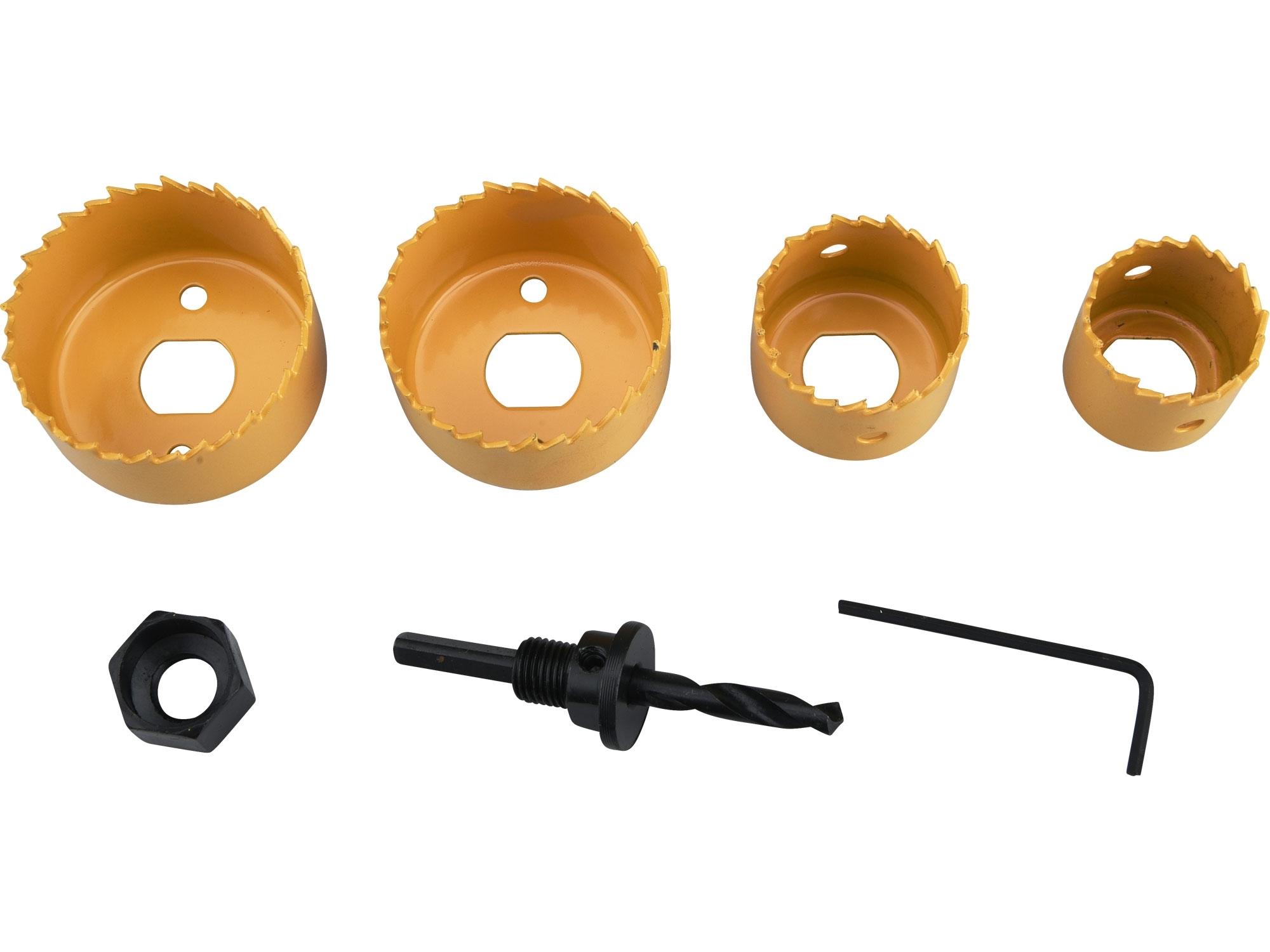 vrtáky vykružovací korunkové, 4 průměry O 32-54mm, HSS/Bi-metal