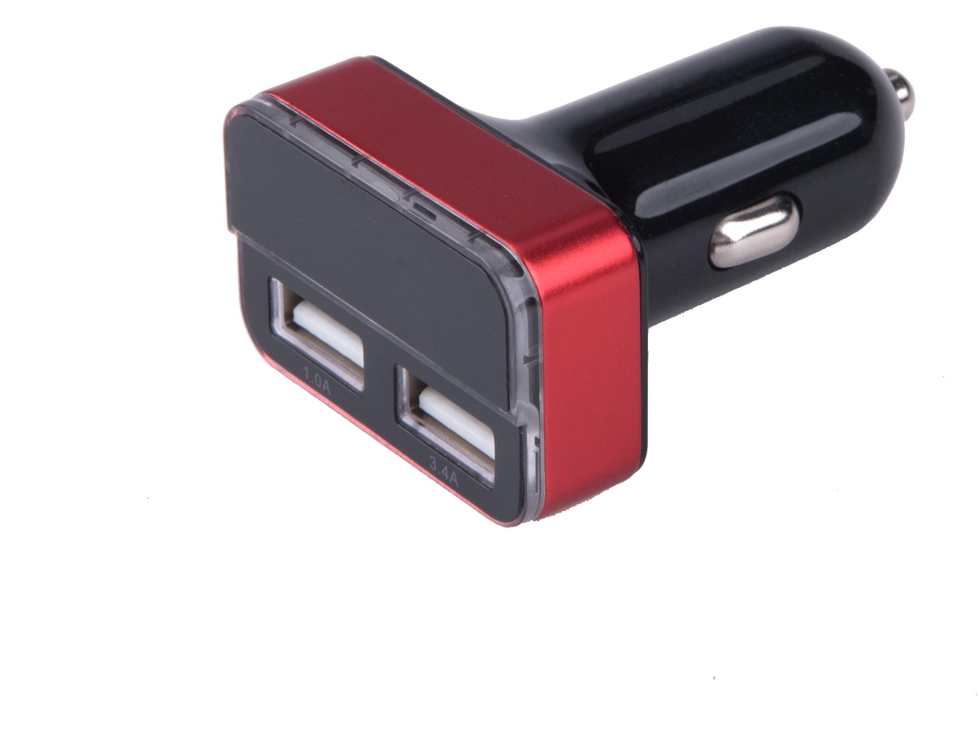 nabíječka USB do auta, 12/24V, 2xUSB, měřič, 3,4A, 17W