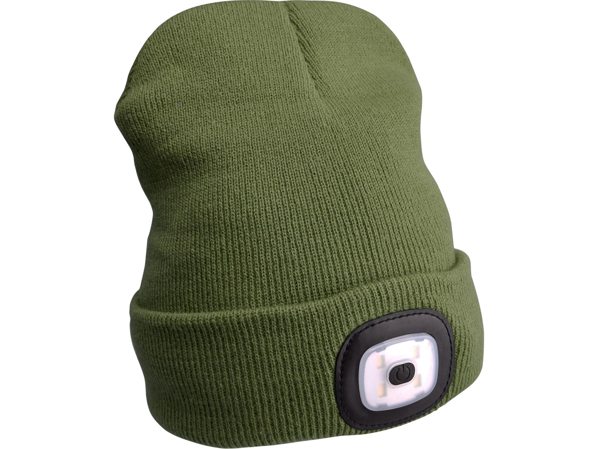 čepice s čelovkou 4x45lm, USB nabíjení, tmavě zelená, univerzální velikost