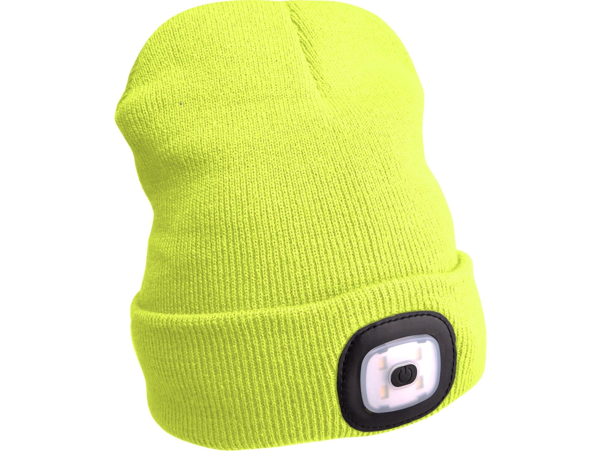 čepice s čelovkou 4x45lm, USB nabíjení, fluorescentní žlutá, univerzální velikost