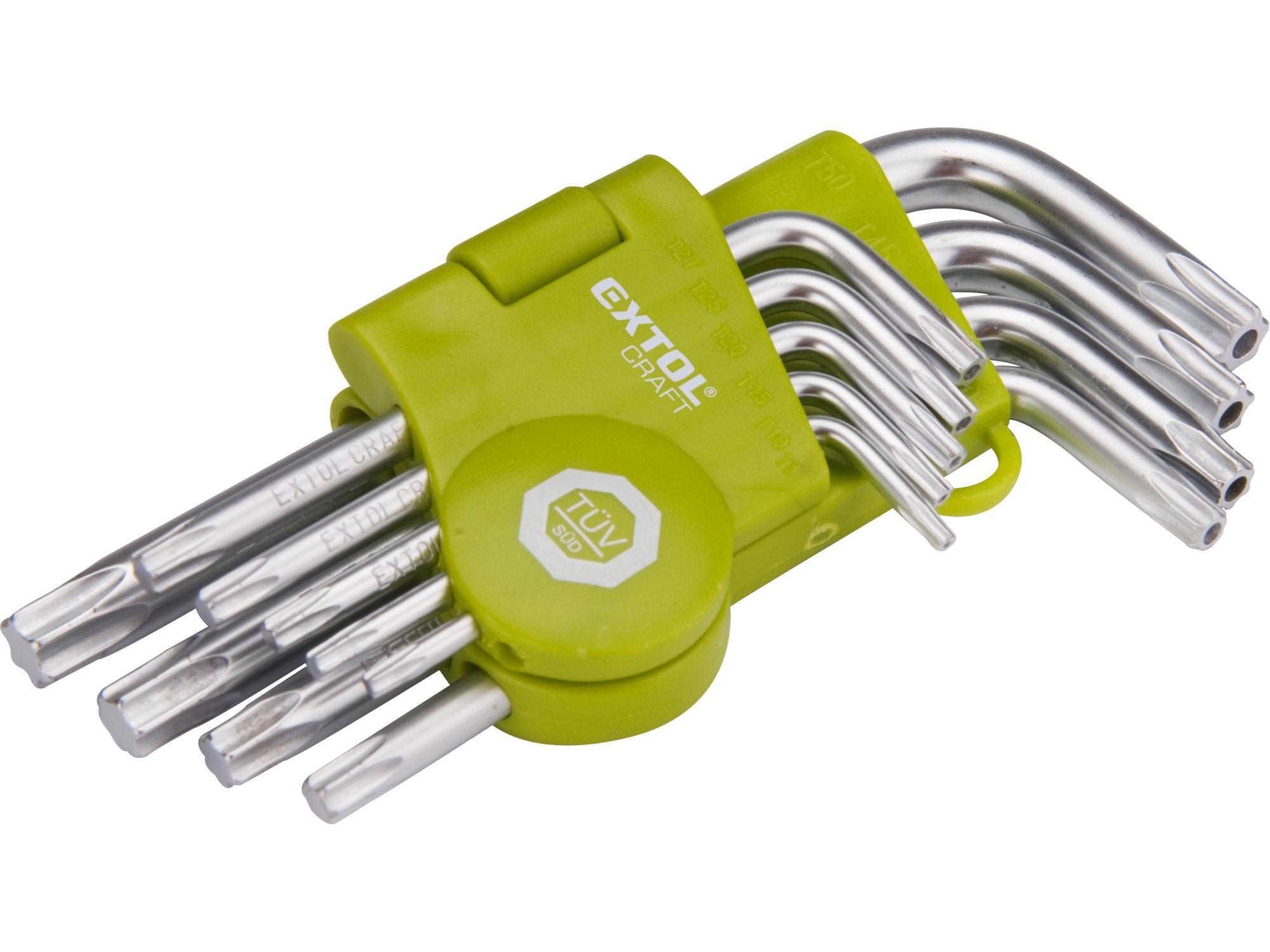 L-klíče TORX, sada 9ks, T 10-50, krátké