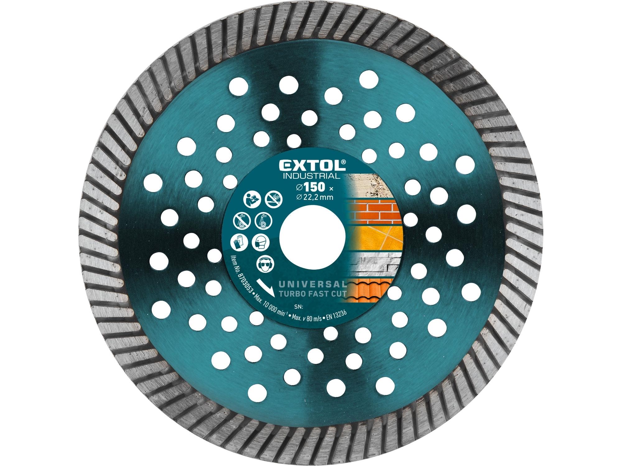 kotouč diamantový řezný, turbo Fast Cut, suché i mokré řezání, O 150x22,2x2,5mm