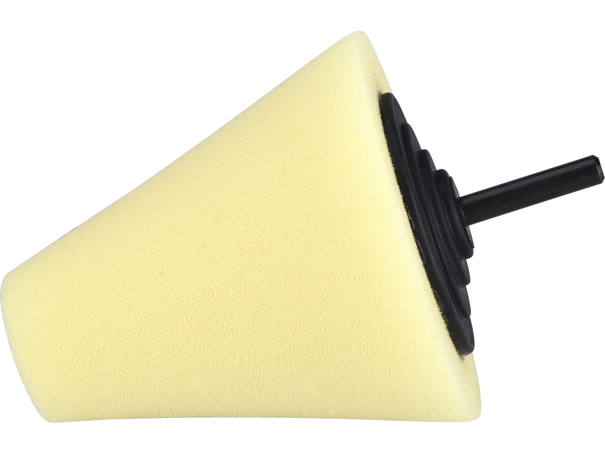 kužel leštící pěnový, T80, žlutý, ⌀80mm, stopka 6mm