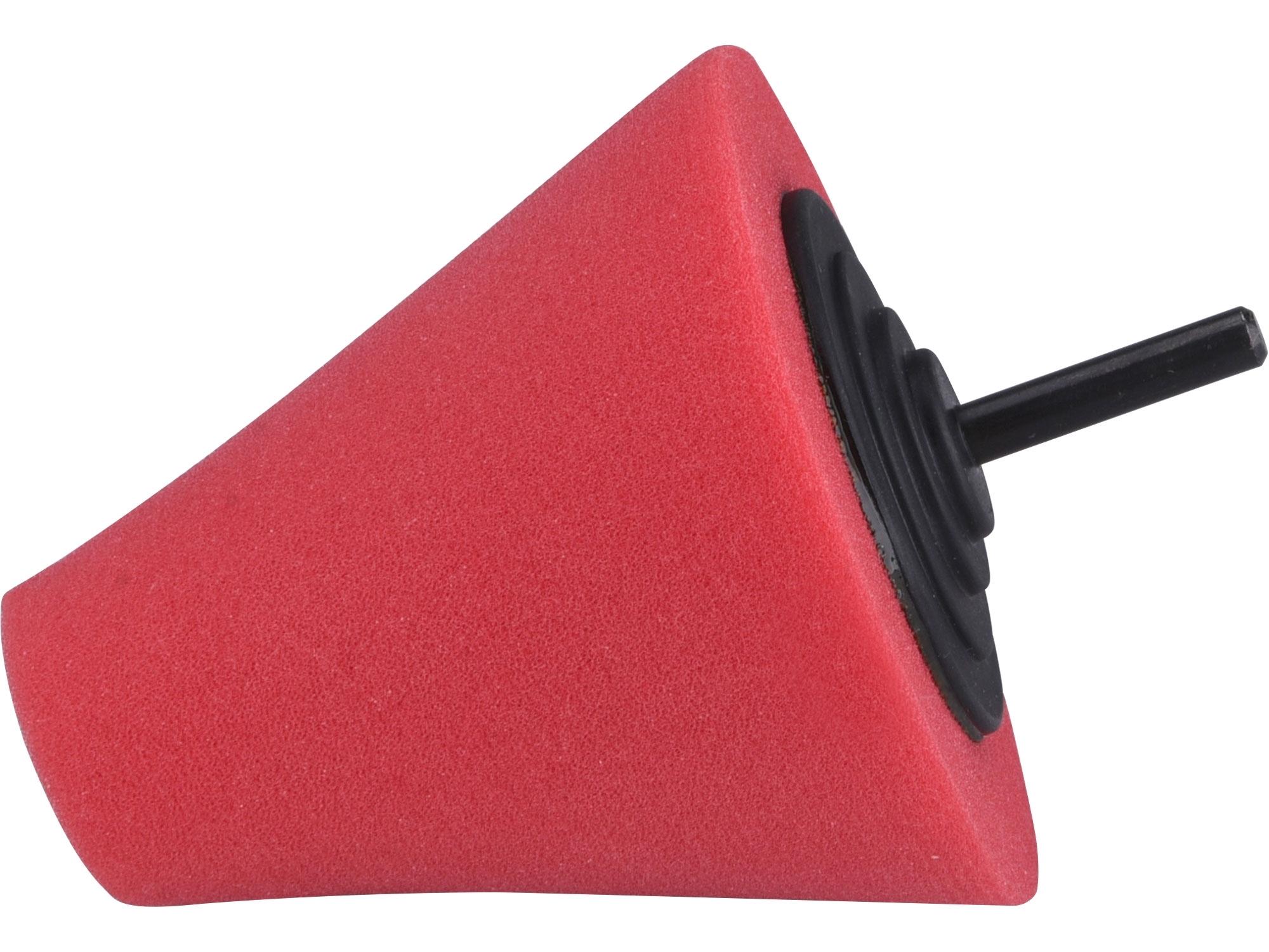 kužel leštící pěnový, T10, červený, ⌀80mm, stopka 6mm