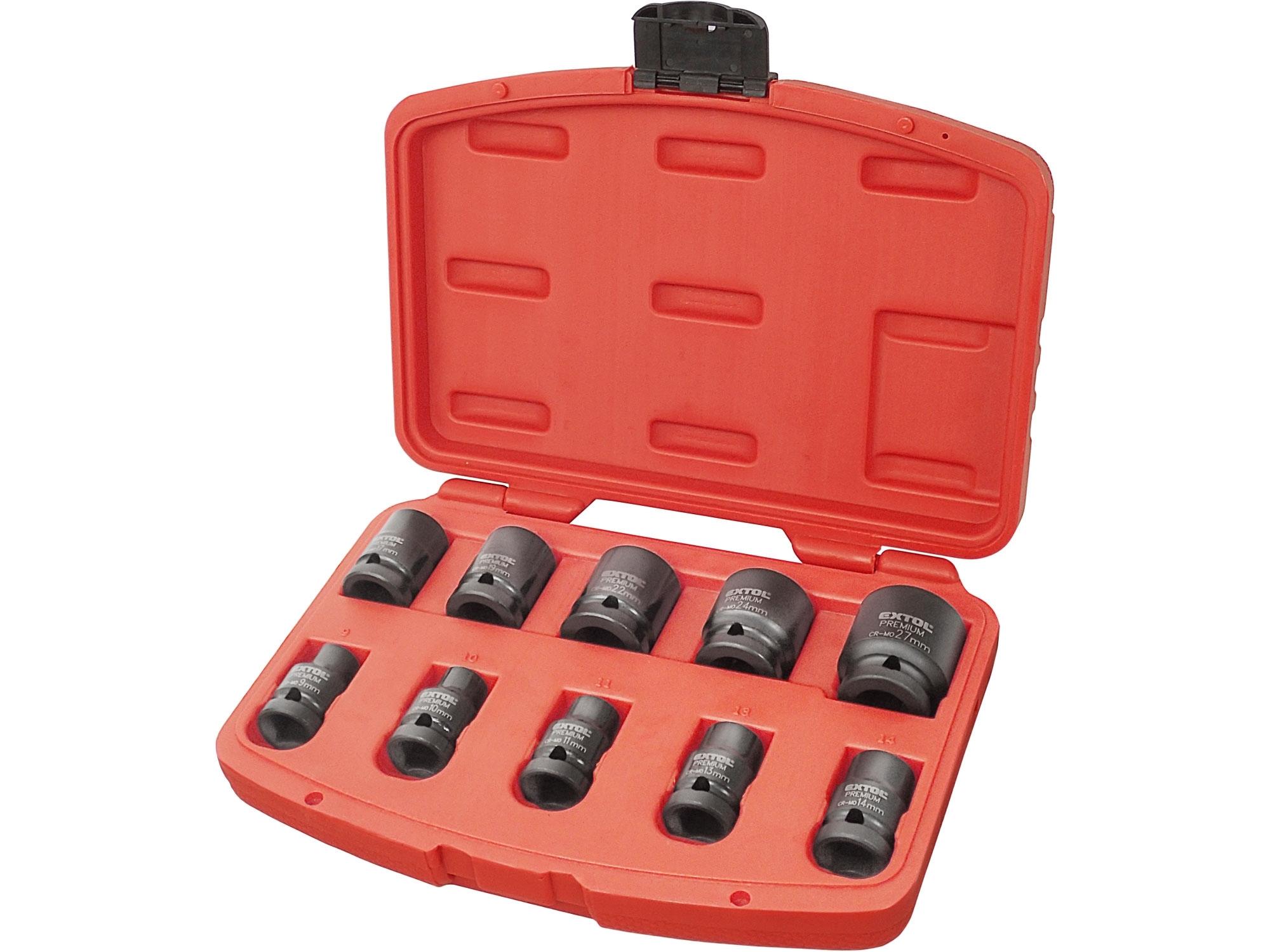 """hlavice nástrčné rázové 1/2"""", sada 10ks, 9-27mm, CrMoV"""