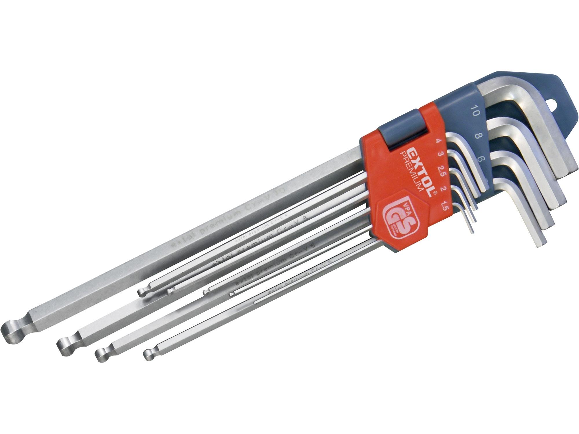 L-klíče IMBUS prodloužené, sada 9ks, s kuličkou, 1,5-10mm