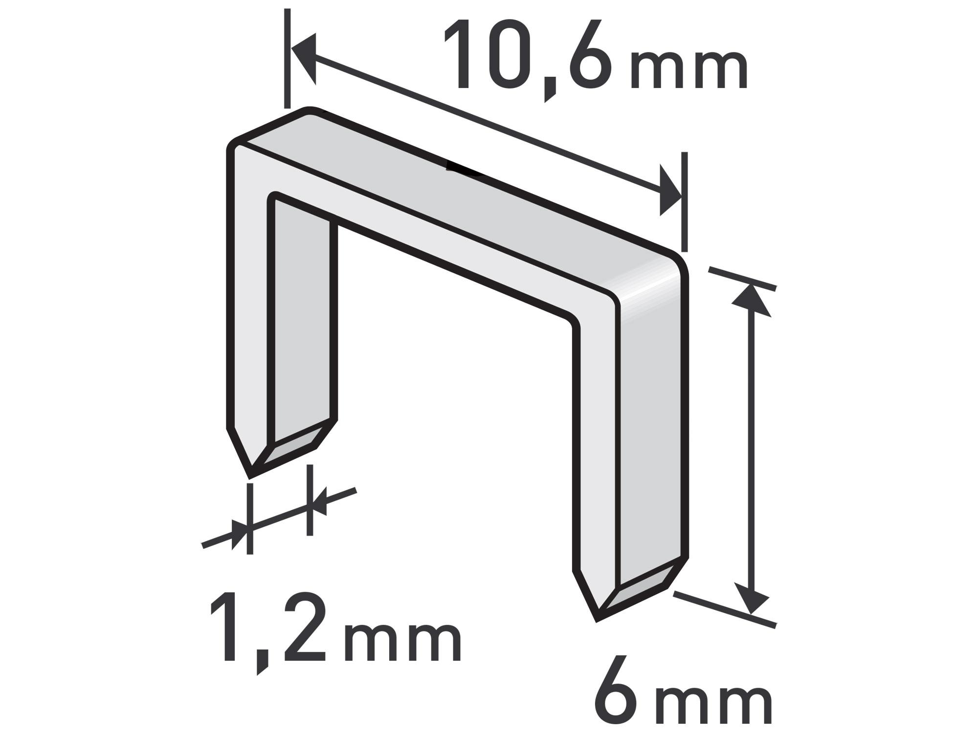 spony, balení 1000ks, 6mm, 10,6x0,52x1,2mm