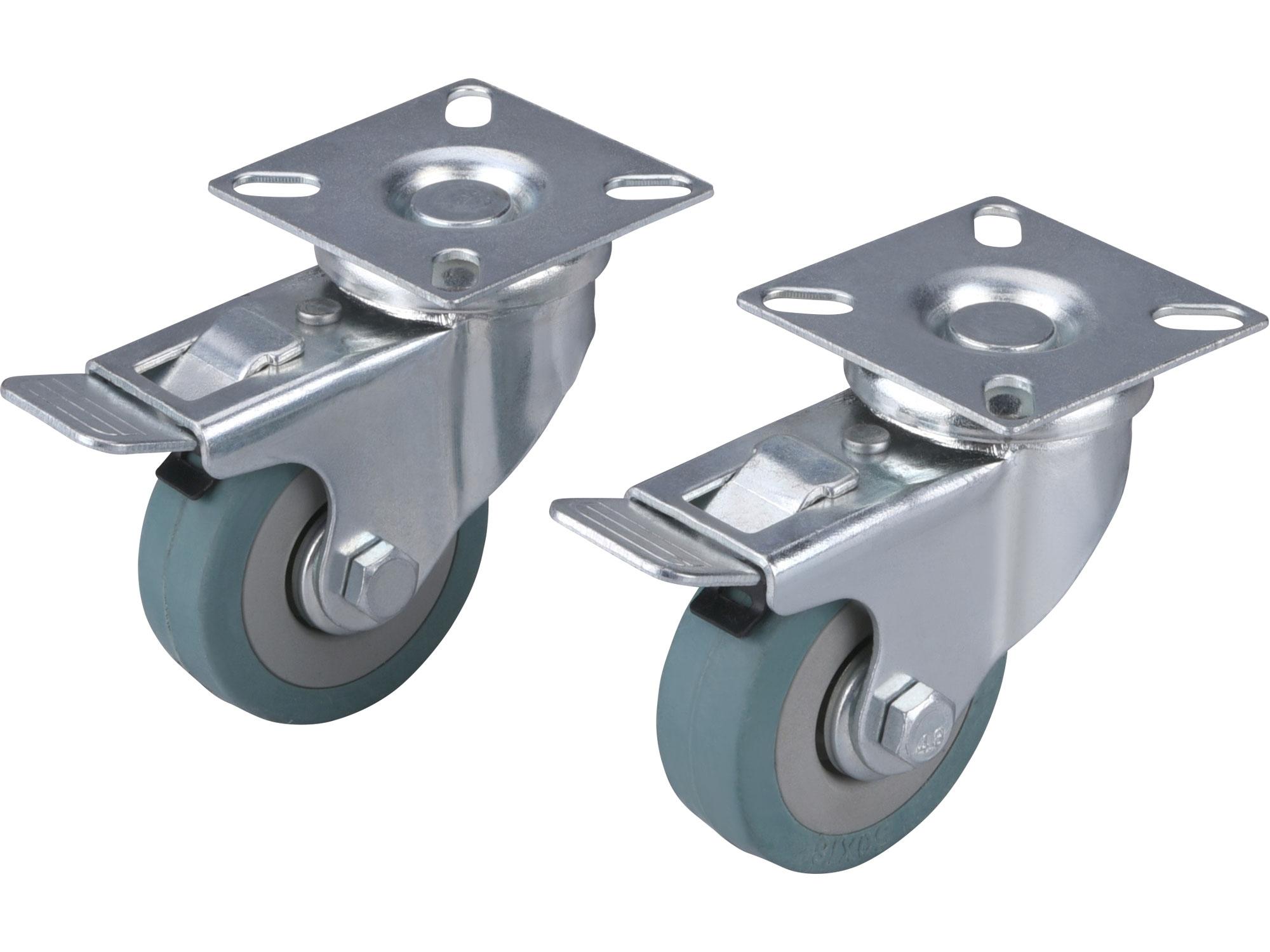 kolečka otočná s obručí ze šedé pryže a brzdou, sada 2ks, průměr 50mm