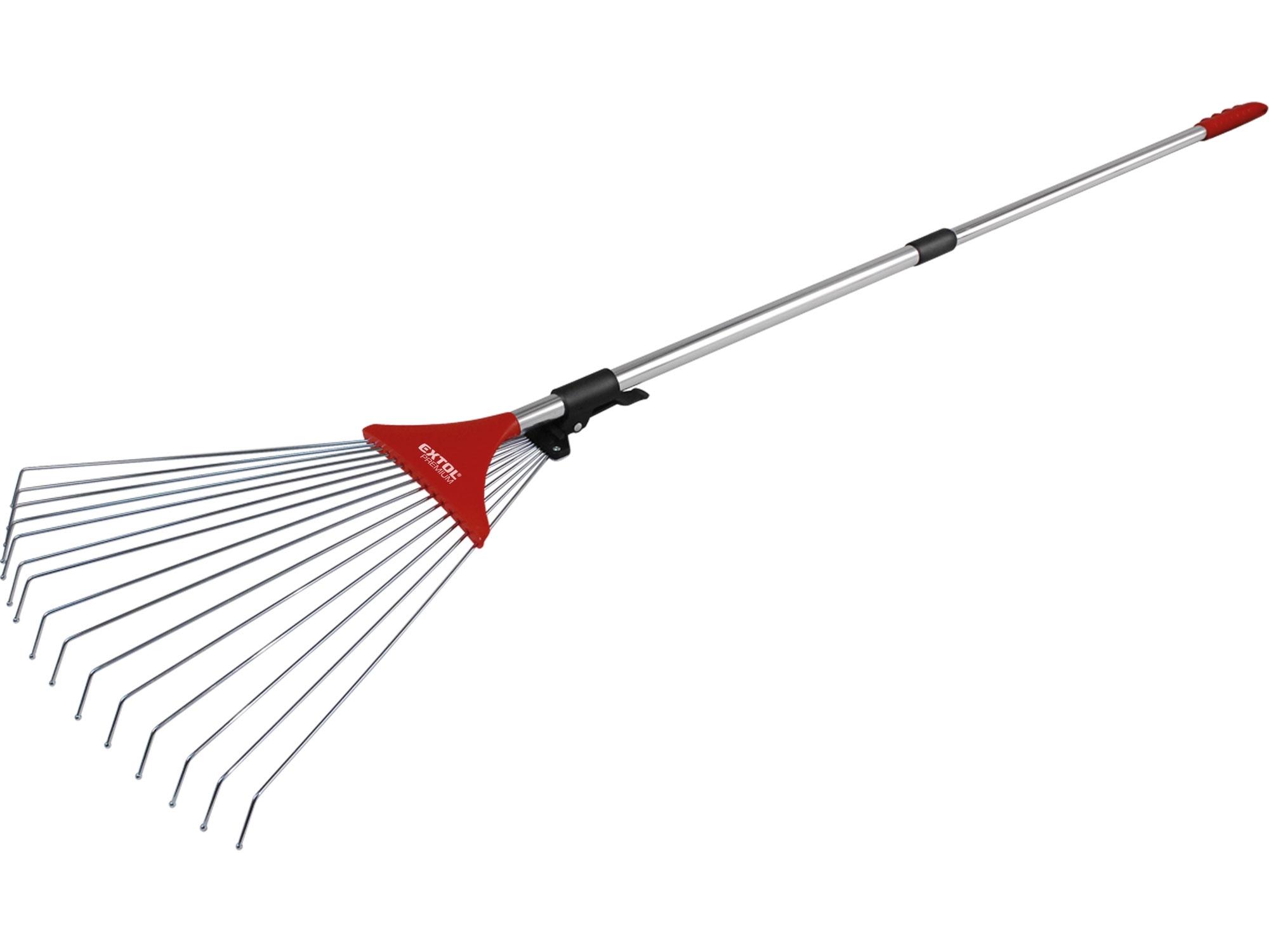 hrábě nastavitelné s teleskopickou násadou, délka 80-158cm, šířka 18-59cm