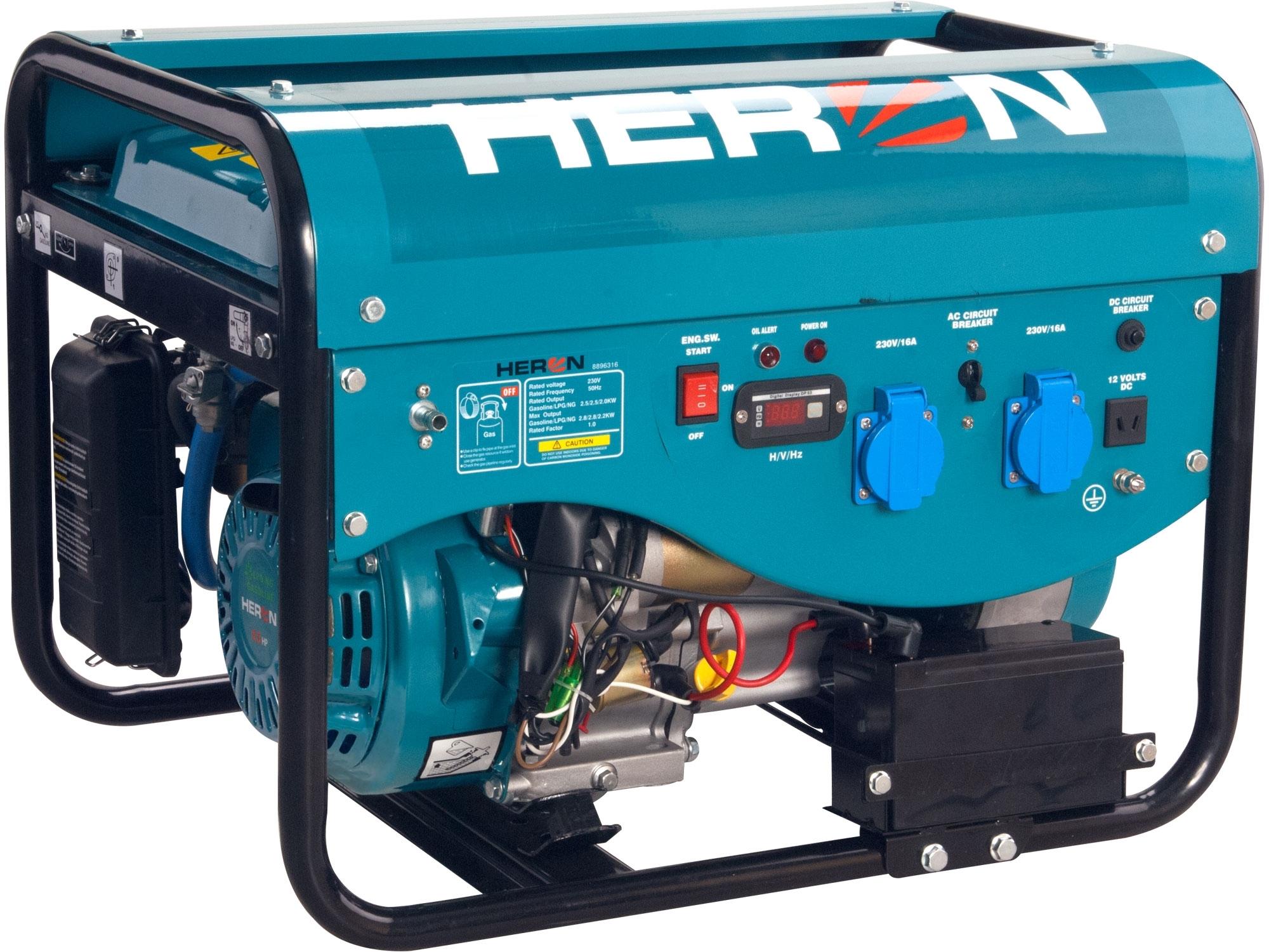 HERON elektrocentrála benzínová a plynová (LGP/NG) 6,3HP/2,4kW, elektrický start