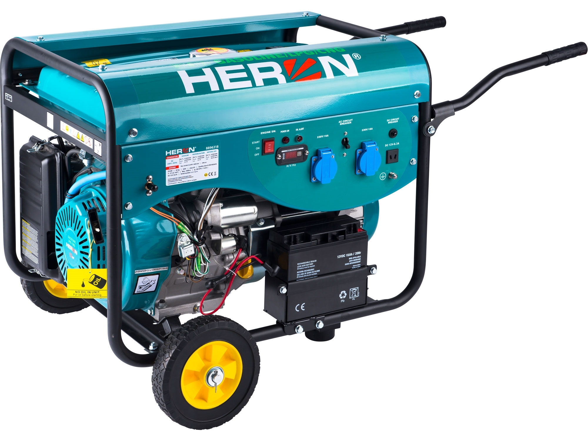 HERON elektrocentrála benzínová a plynová (LGP/NG) 13HP/5,5kW, elektrický start