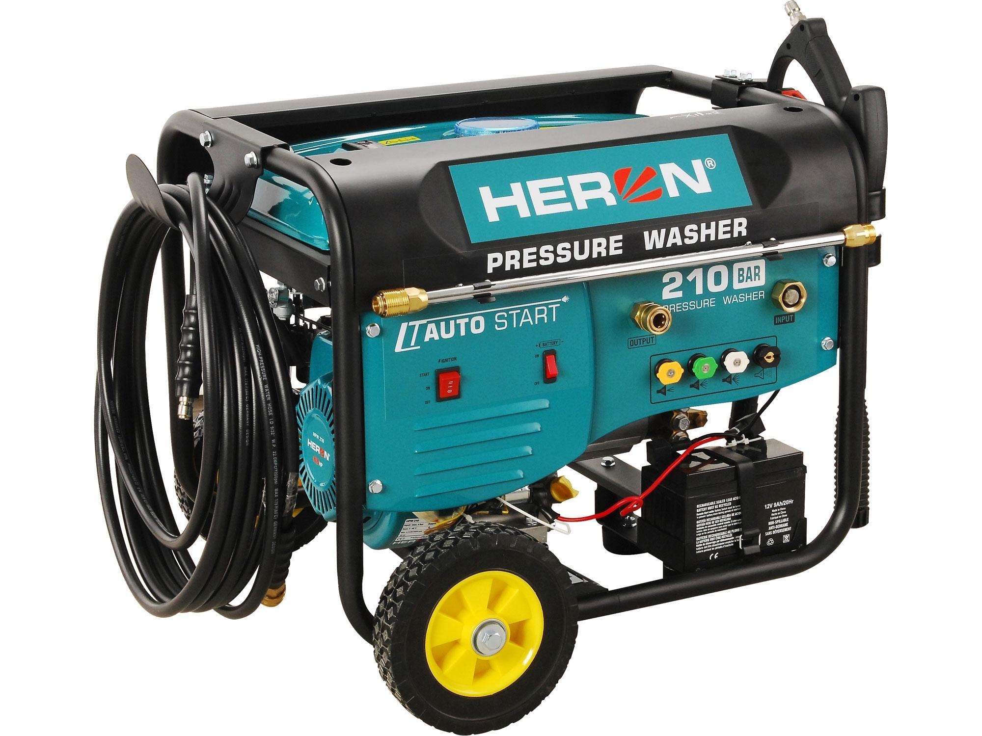 HERON vysokotlaký motorový čistič s dálkovým ovládáním, el. startem, samonasáváním vody a šamponovačem, 210bar