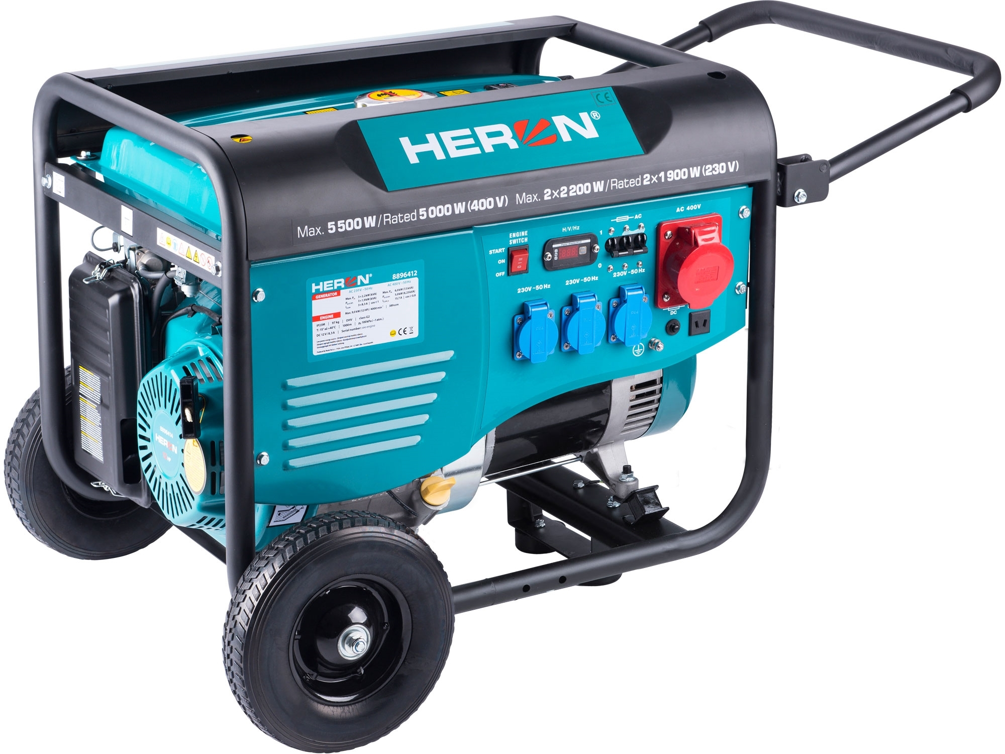 HERON elektrocentrála benzínová 13HP/5,5kW/6,8kVA (400V), 2x2,2kW (230V), podvozek