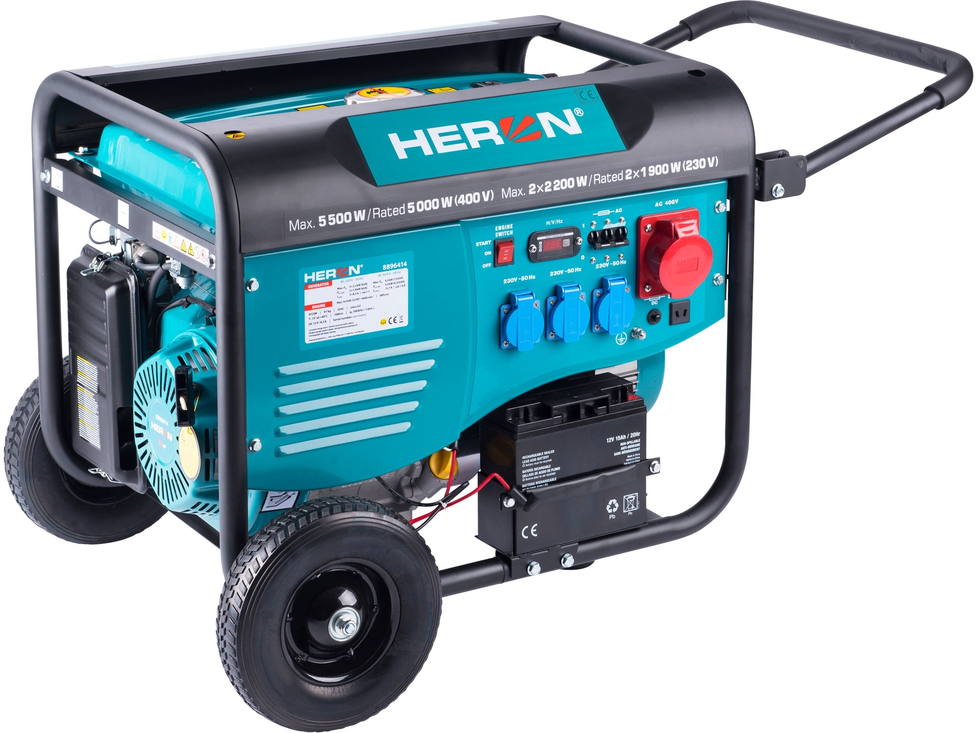 HERON elektrocentrála benzínová 13HP/5,5kW/6,8kVA (400V), 2x2,2kW (230V), elektrický start, podvozek