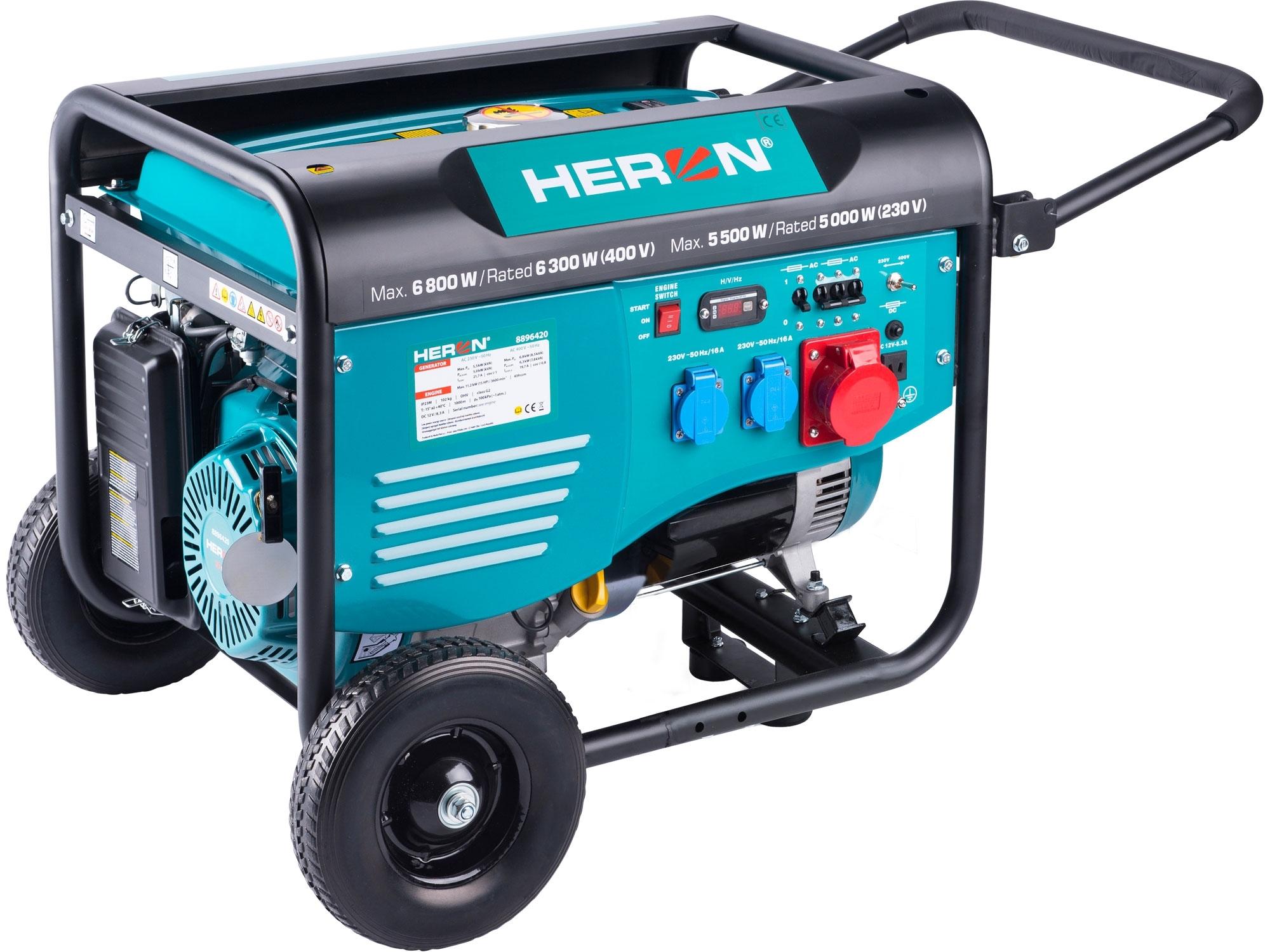 HERON elektrocentrála benzínová 15HP/6,8kW (400V), 5,5kW (230V), podvozek