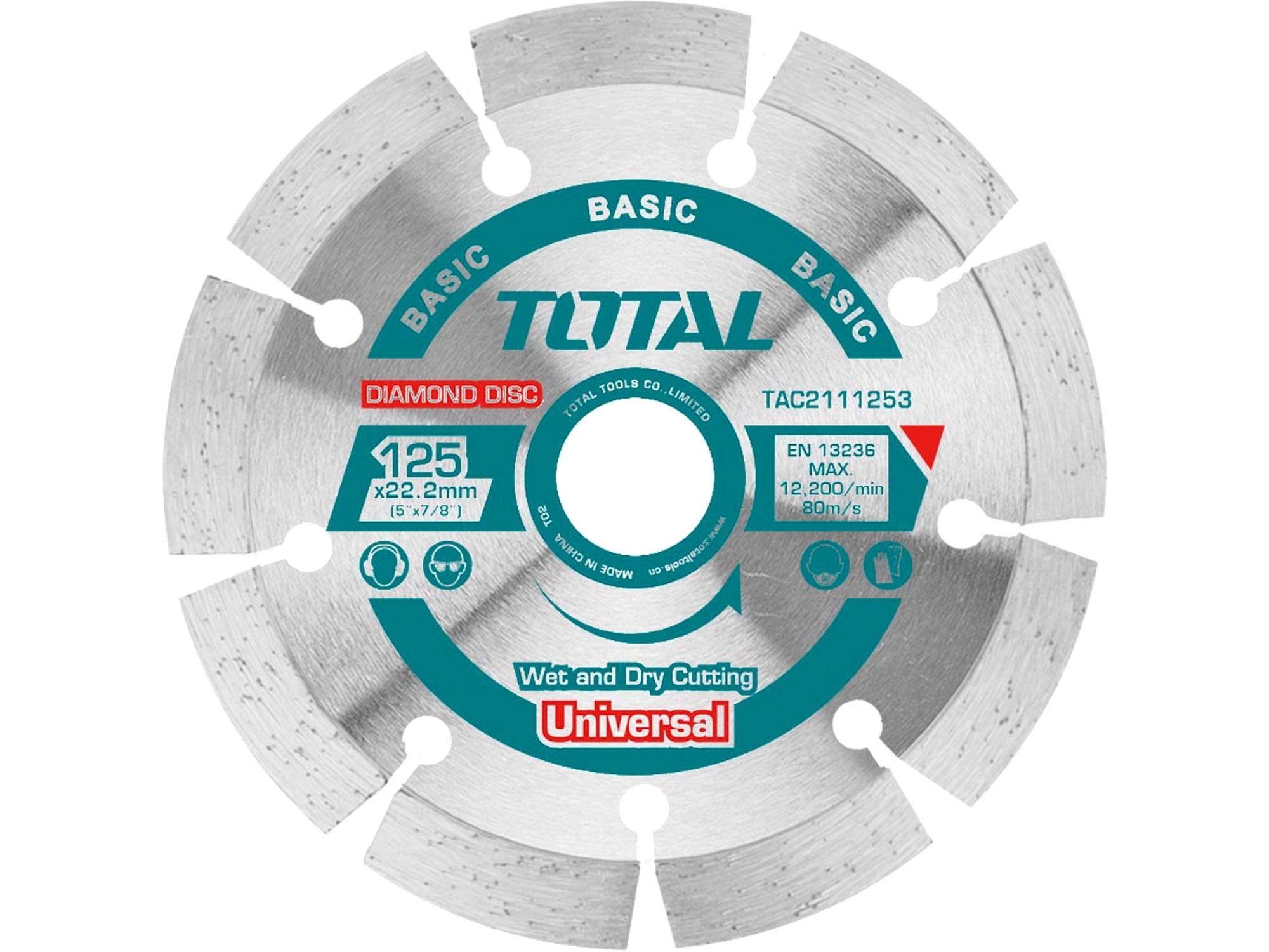 TOTAL TAC2112303 Kotouč diamantový řezný, segmenový, suché i mokré řezání, 230x22,2mm