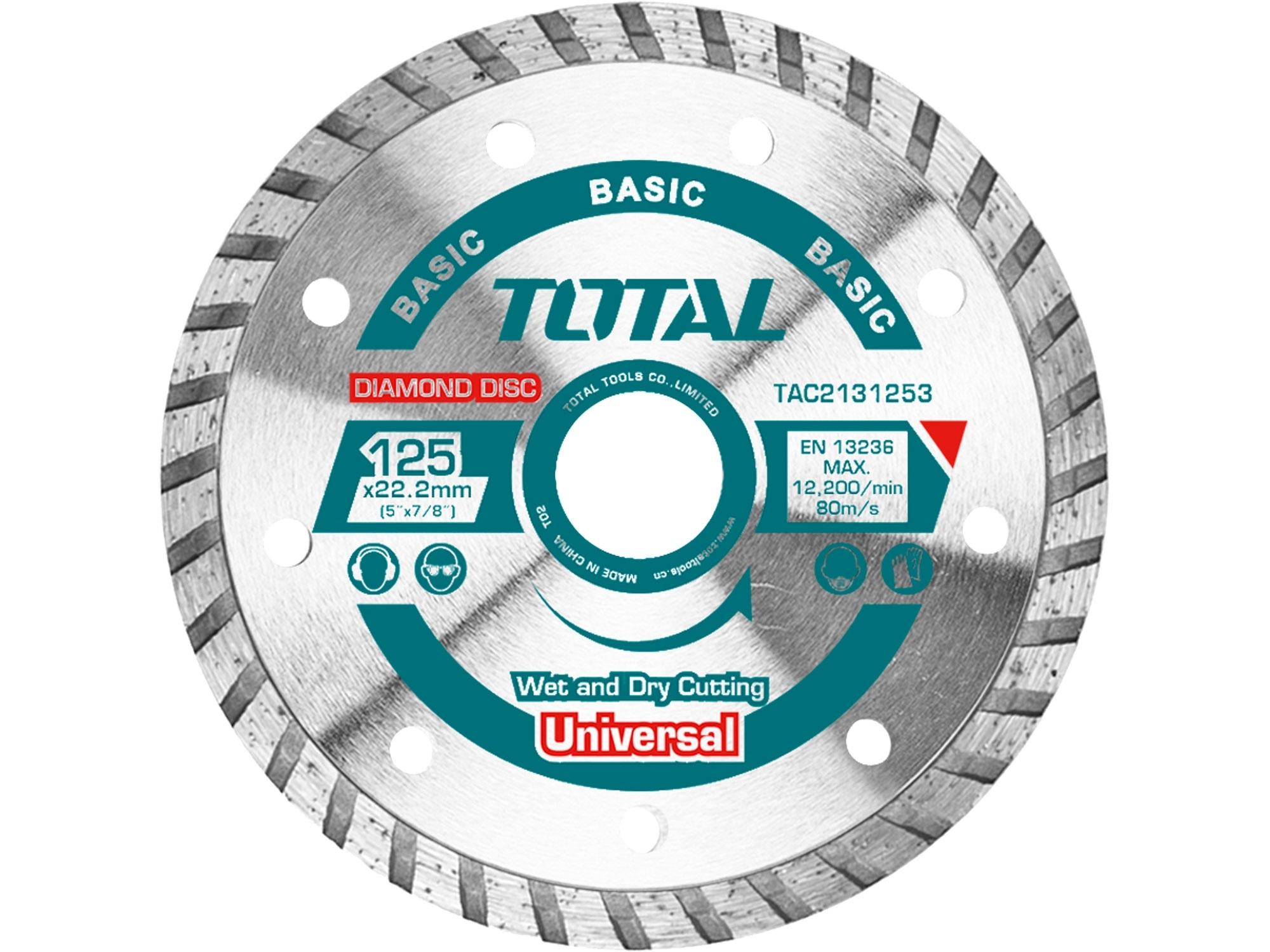 TOTAL TAC2132303 Kotouč diamantový řezný, Turbo, suché i mokré řezání, 230x22,2mm