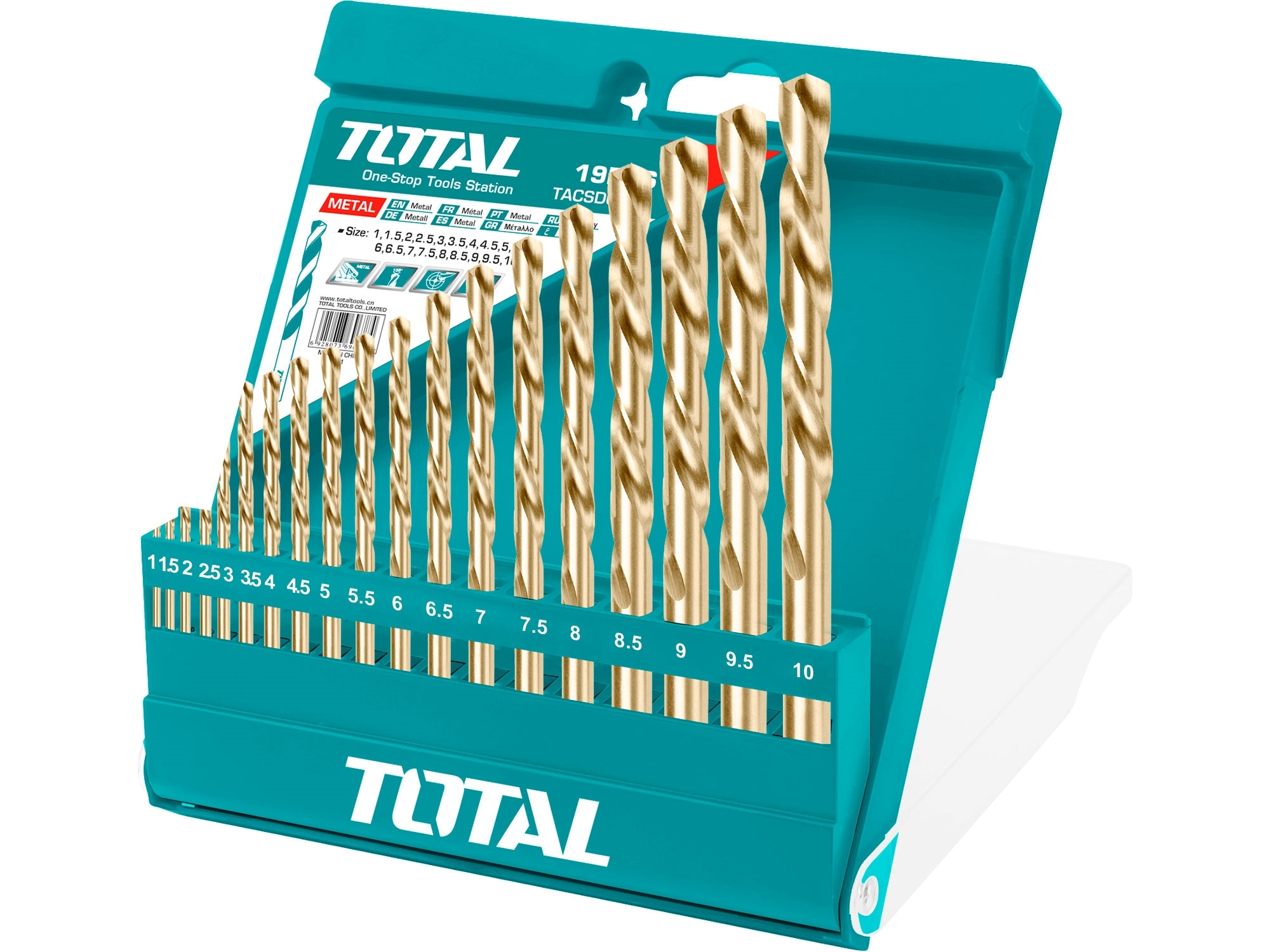 TOTAL TACSD0195 vrtáky do kovu, sada 19ks, HSS, 1-10mm