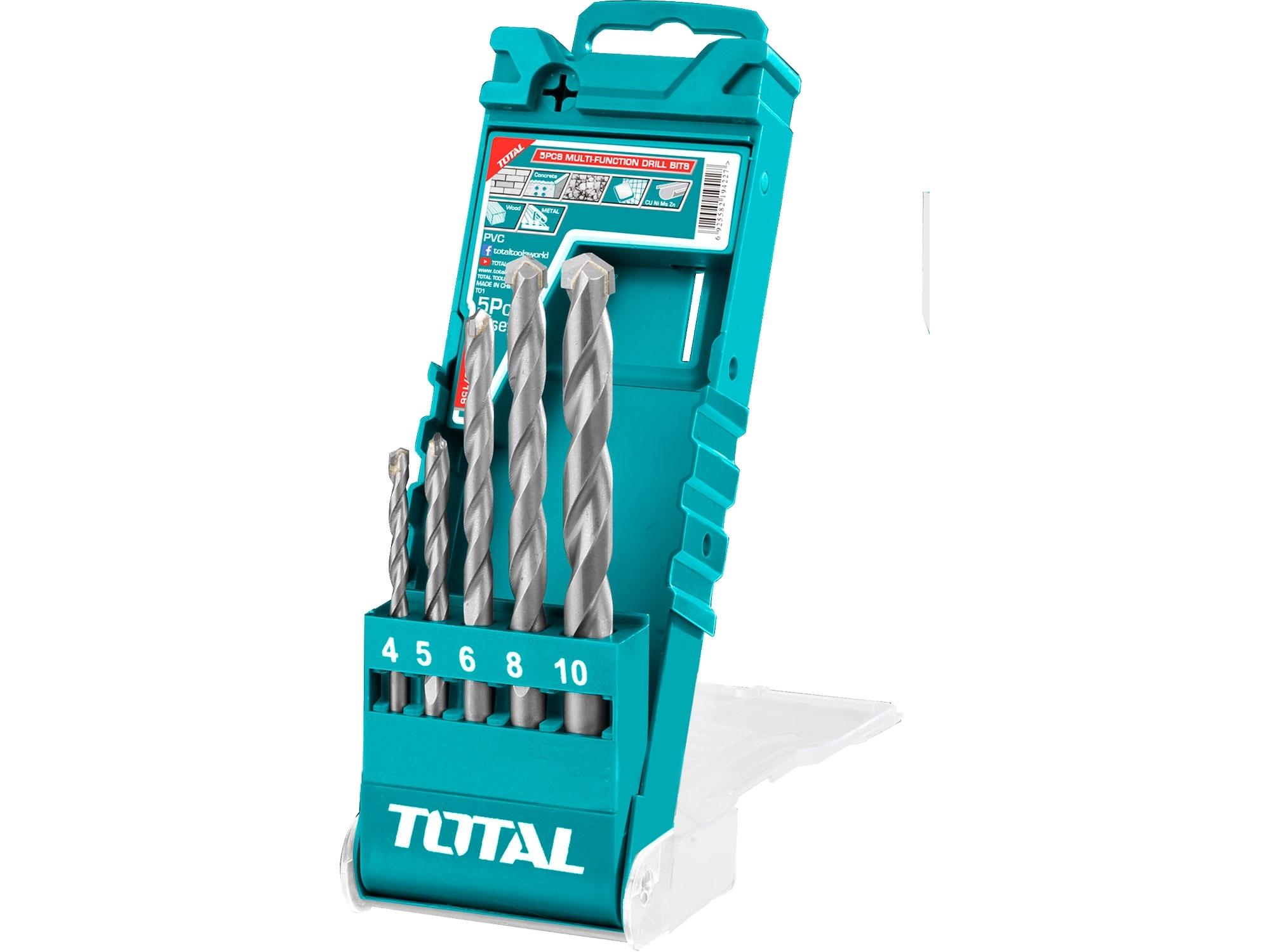 TOTAL TACSD7156 Vrtáky, multifunkční sada, 5ks, 4-5-6-8-10mm