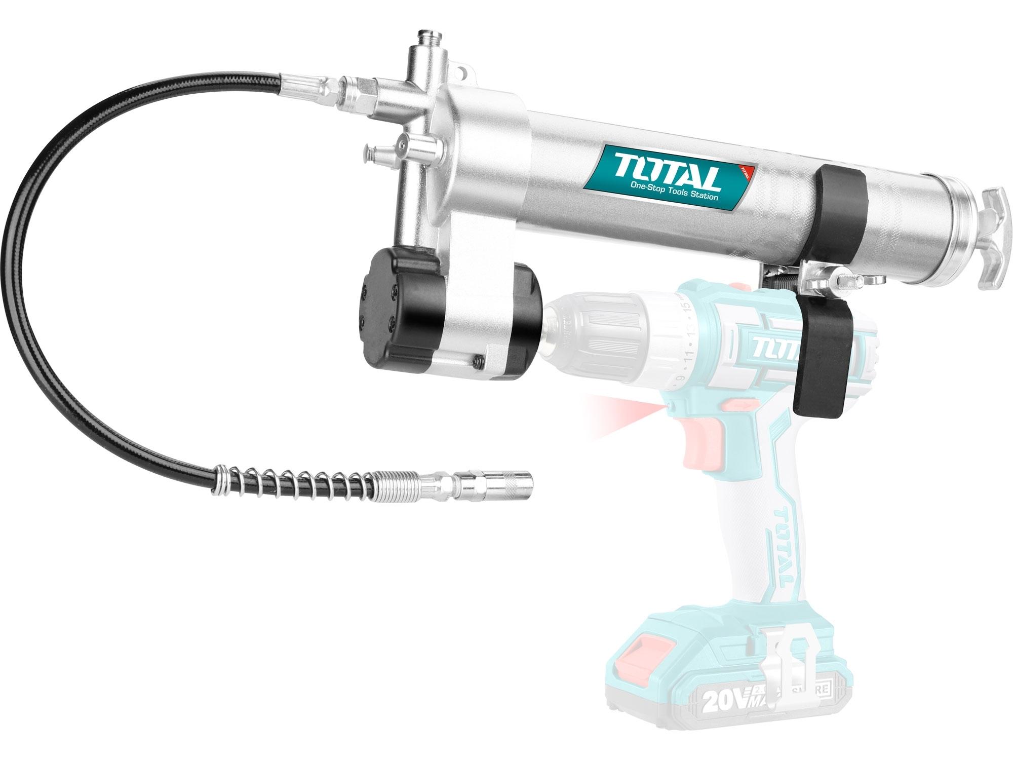 TOTAL TGULI2001 Přídavná mazací pistole, industrial, objem 400ml, doporučený pracovní tlak 4 000psi, maximální tlak 8 000psi,, Hliník