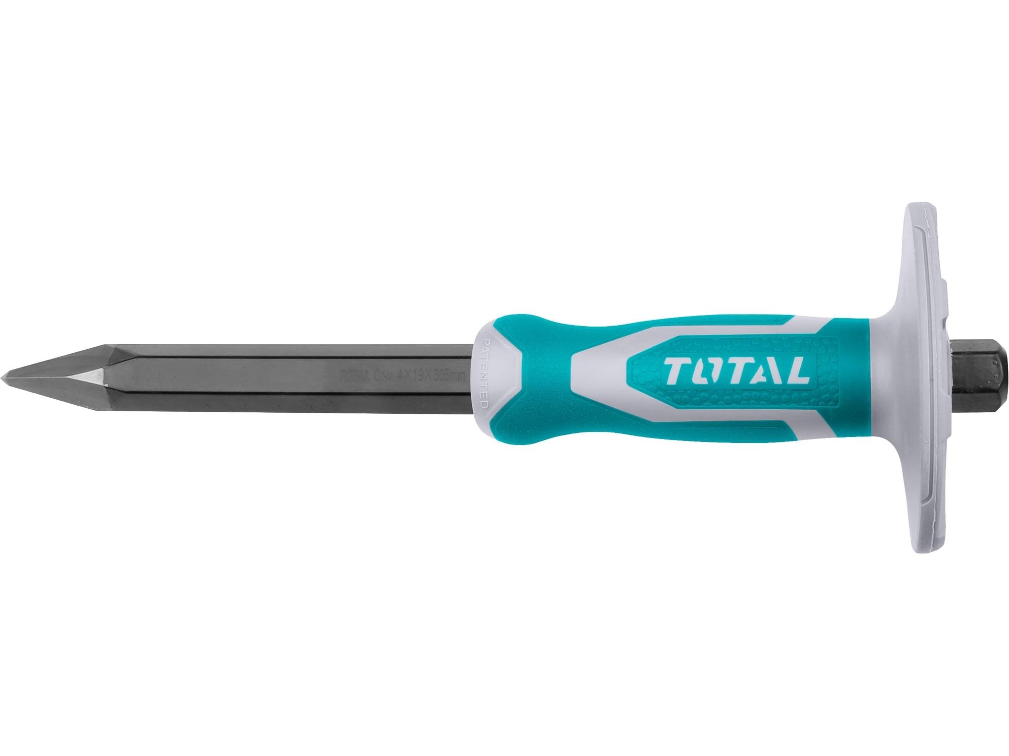 TOTAL THT4221216 sekáč špičatý s plastovým chráničem, industrial, šířka ostří 4mm, délka 305mm