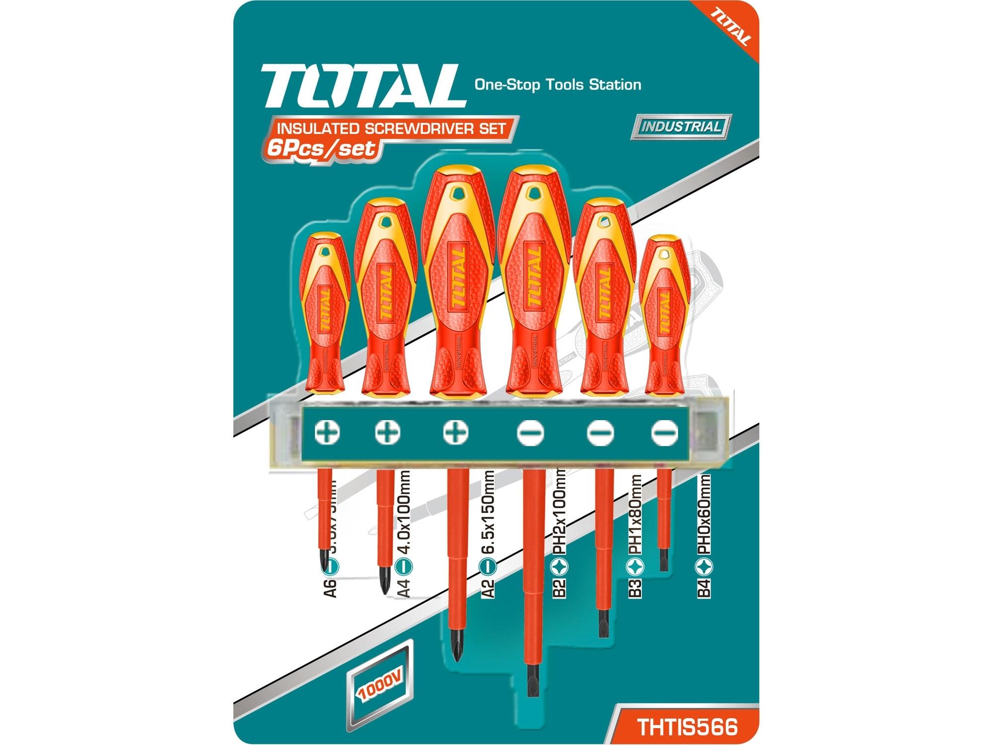 TOTAL THTIS566 šroubováky, sada 6ks, 1000V, VDE, industrial, (-) 3ks, PH 3ks, CrV