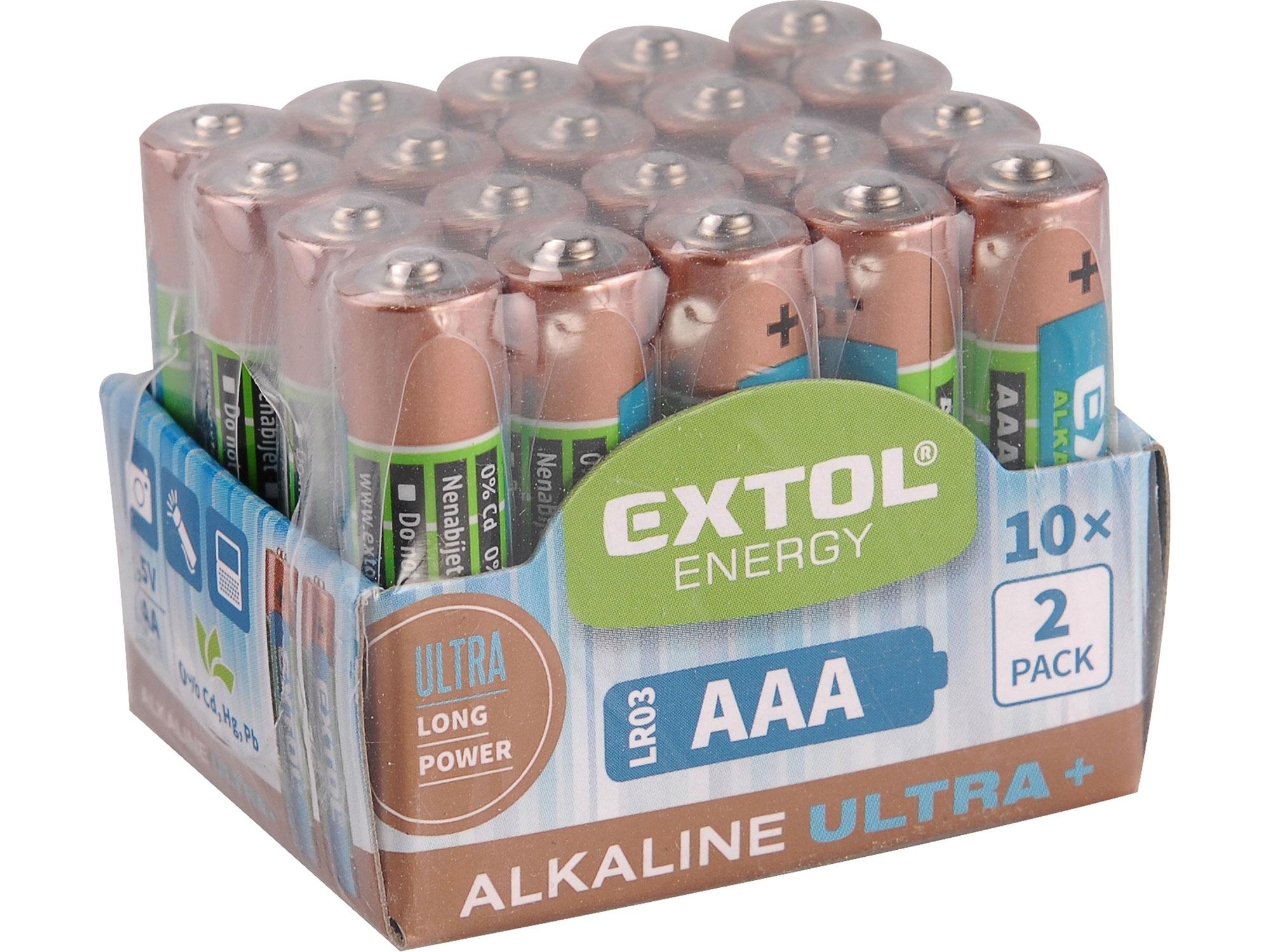 baterie alkalické, 20ks, 1,5V AA (LR6), EXTOL ENERGY 42013