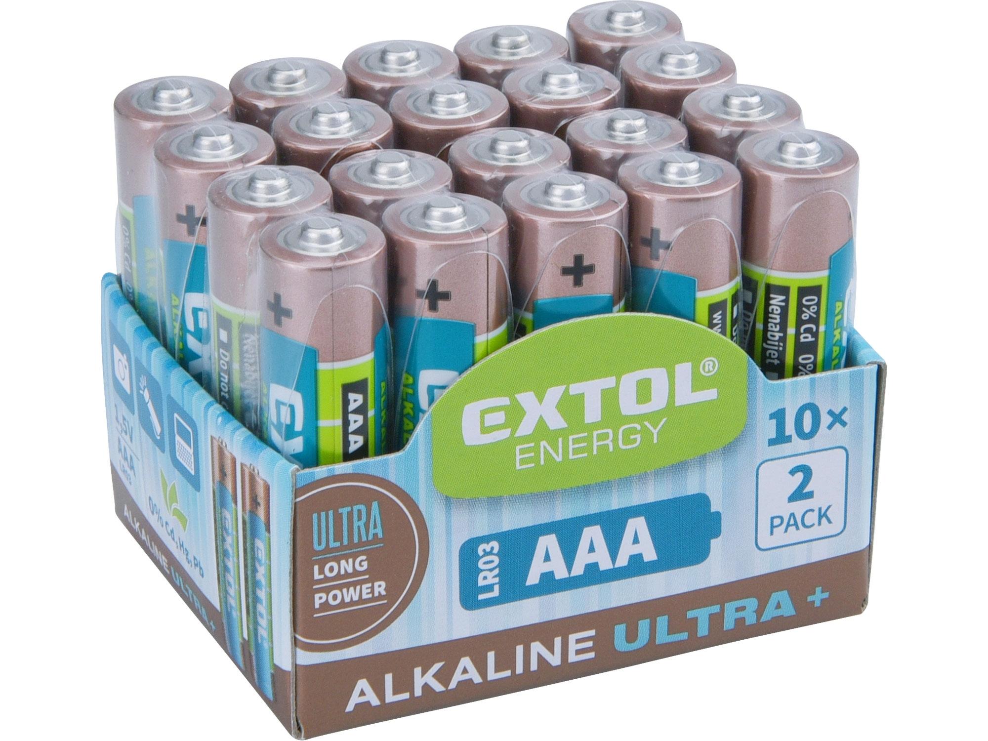 baterie alkalické, 20ks, 1,5V AAA (LR03), EXTOL ENERGY 42012