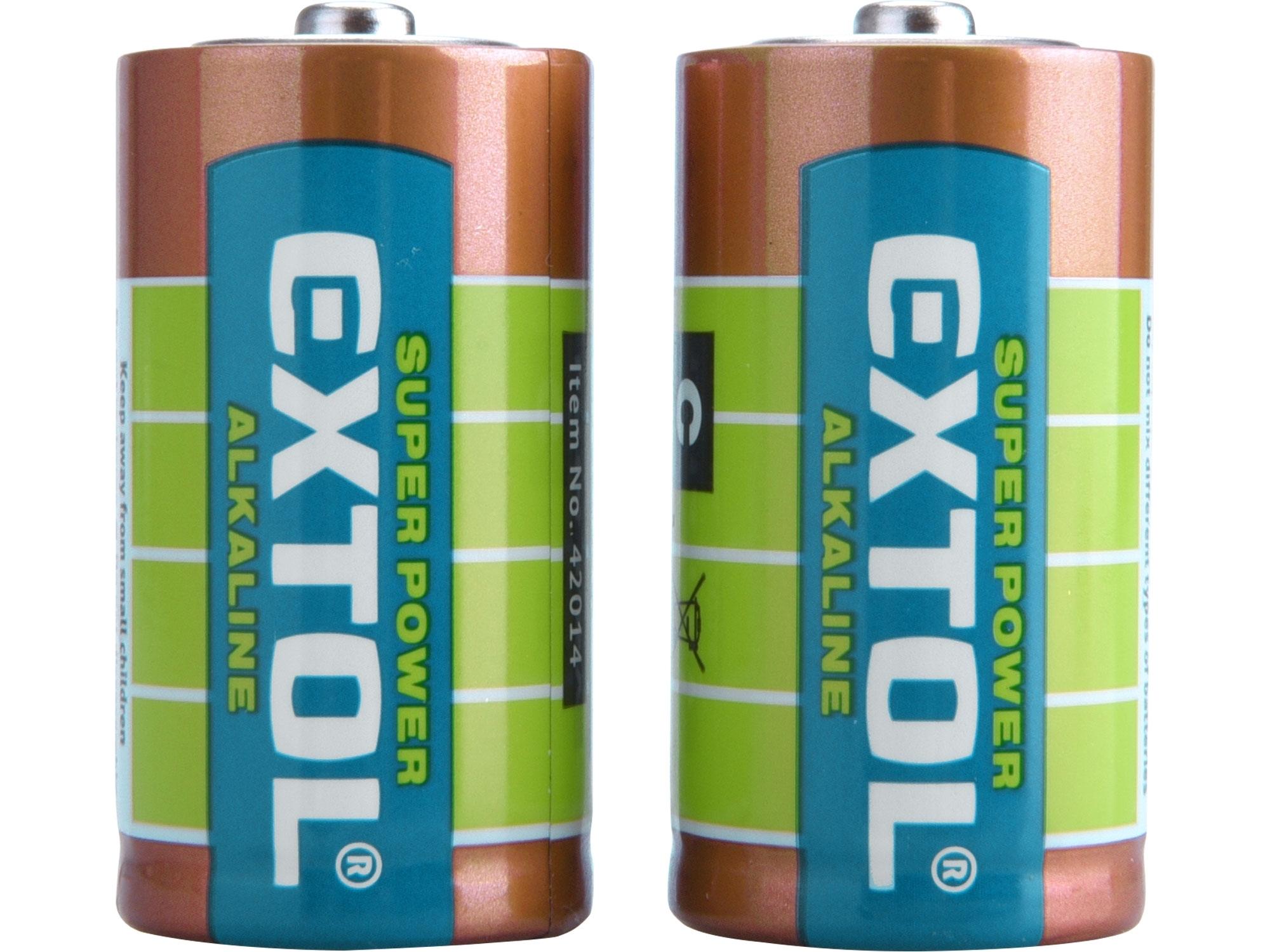 baterie alkalické, 2ks, 1,5V C (LR14),  EXTOL ENERGY 42014