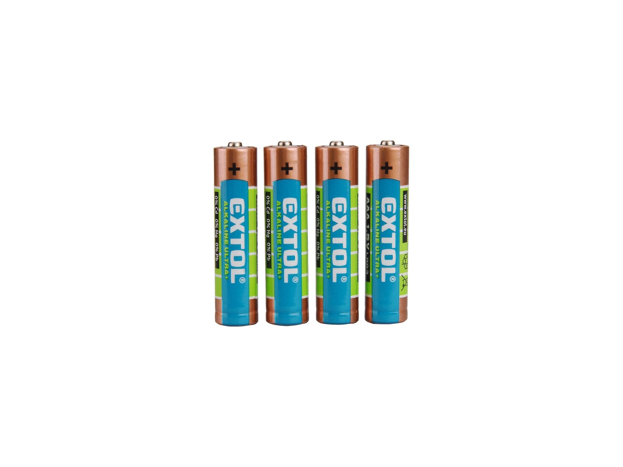 baterie alkalické, 4ks, 1,5V AAA (LR03), EXTOL ENERGY 42010
