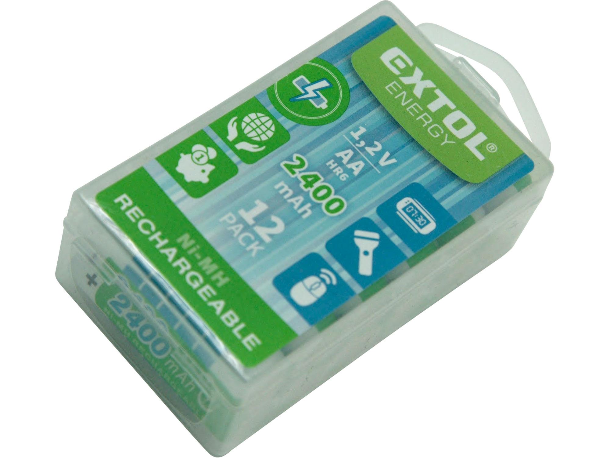 baterie nabíjecí, 12ks, AA (HR6), 1,2V, 2400mAh, NiMh, EXTOL ENERGY 42063