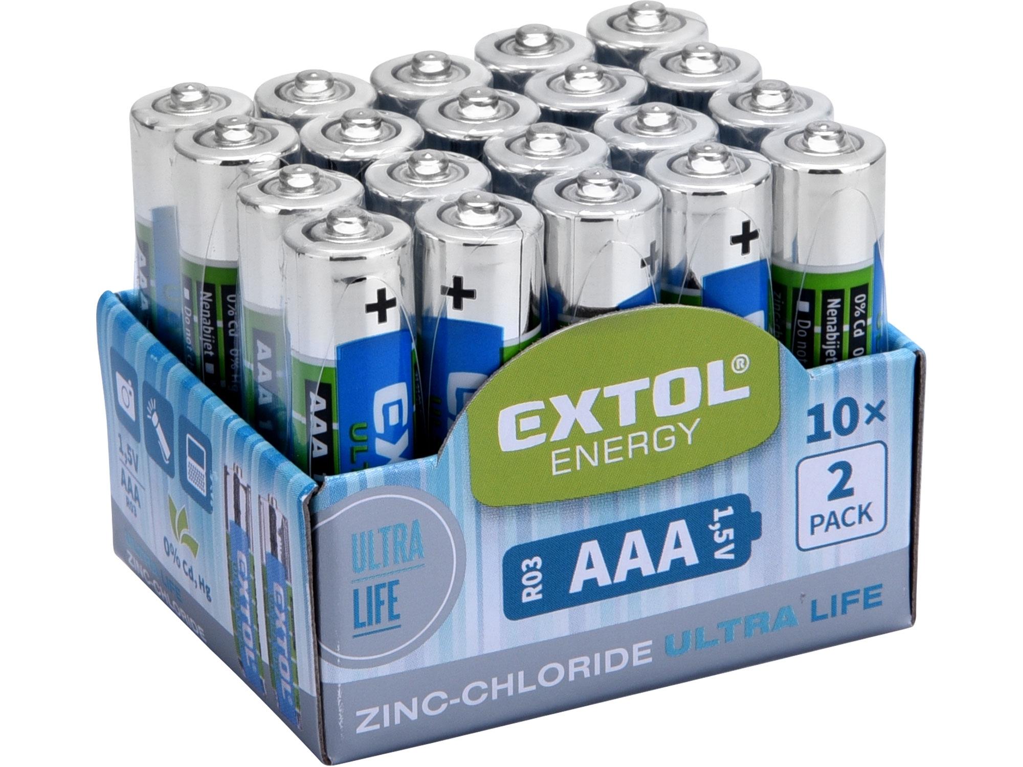 baterie zink-chloridové, 20ks, 1,5V AAA (R03), EXTOL ENERGY 42002
