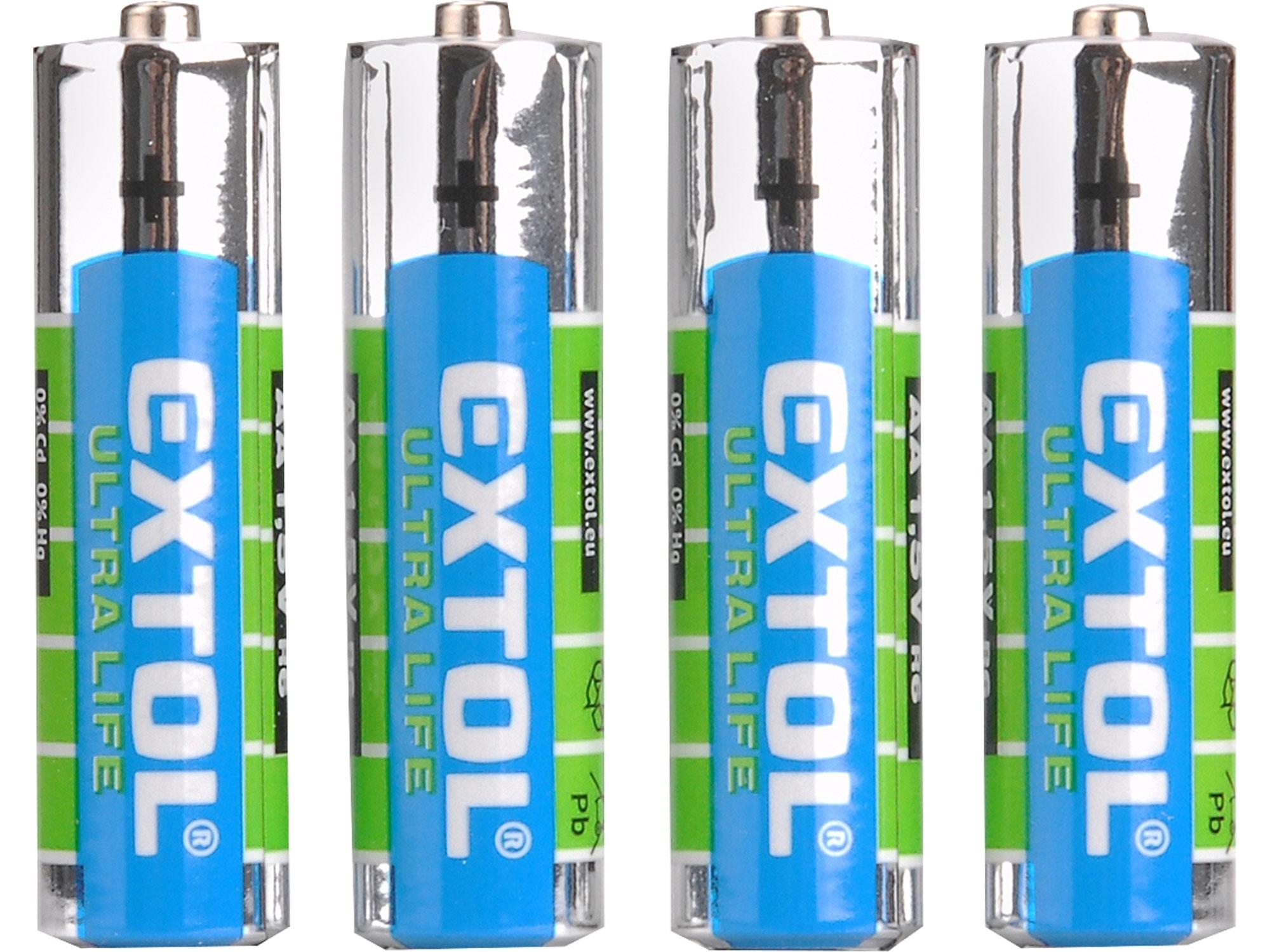 baterie zink-chloridové, 4ks, 1,5V AA (LR6), EXTOL ENERGY 42001