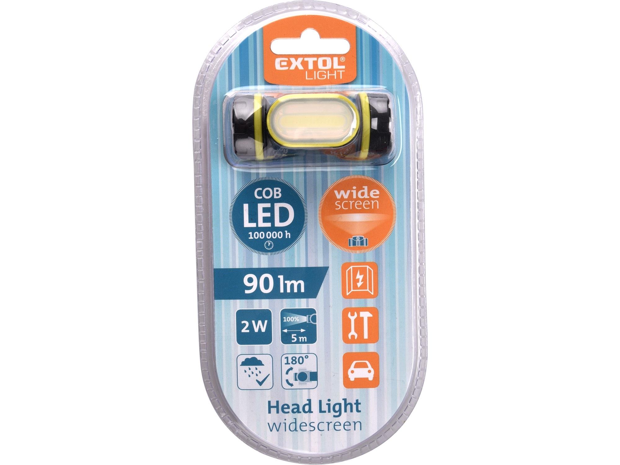 Čelovka širokoúhlá 90lm COB,2W LED EXTOL