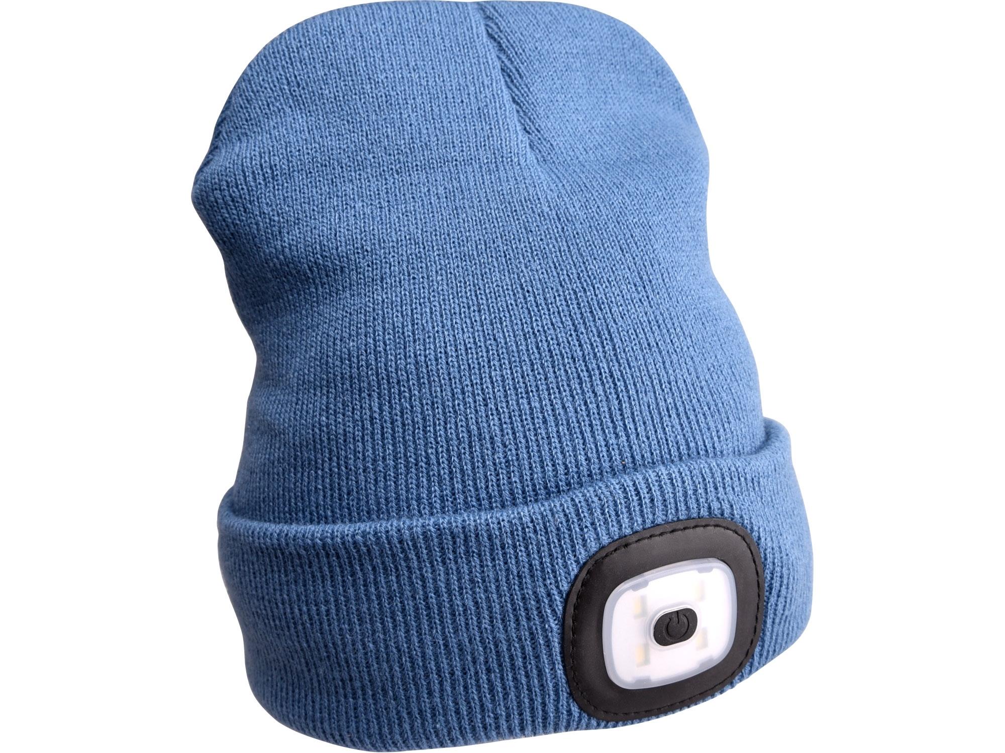 čepice s čelovkou 45lm, nabíjecí, USB, modrá, univerzální velikost