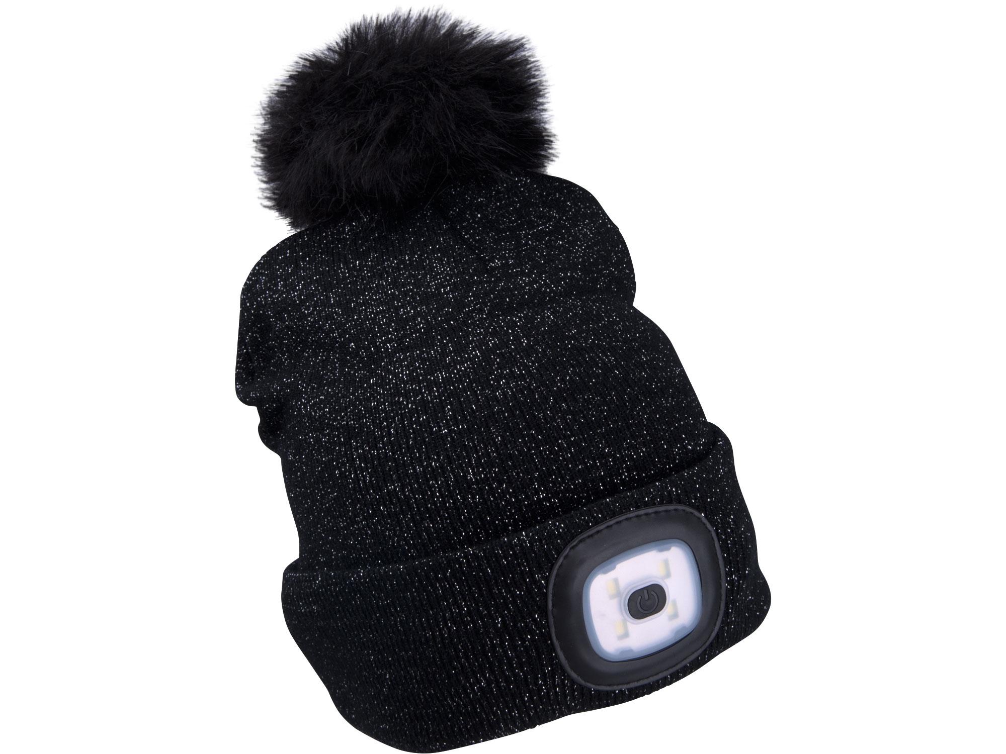čepice s čelovkou 4x45lm, USB nabíjení, černá se třpytkou a bambulí, univerzální velikost