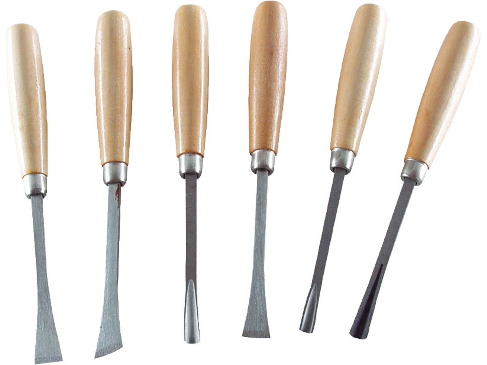 dláta řezbářská s dřevěnou rukojetí, sada 6ks