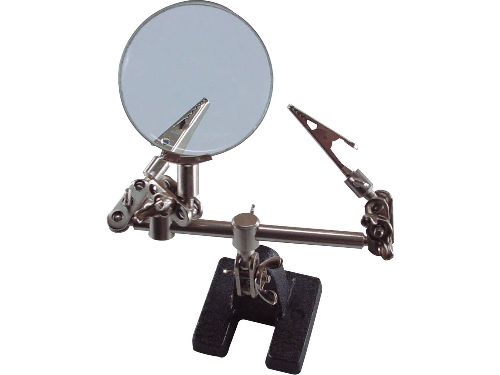 """držák """"třetí ruka"""" s lupou, průměr lupy 60mm, zvětšení lupy 8x"""