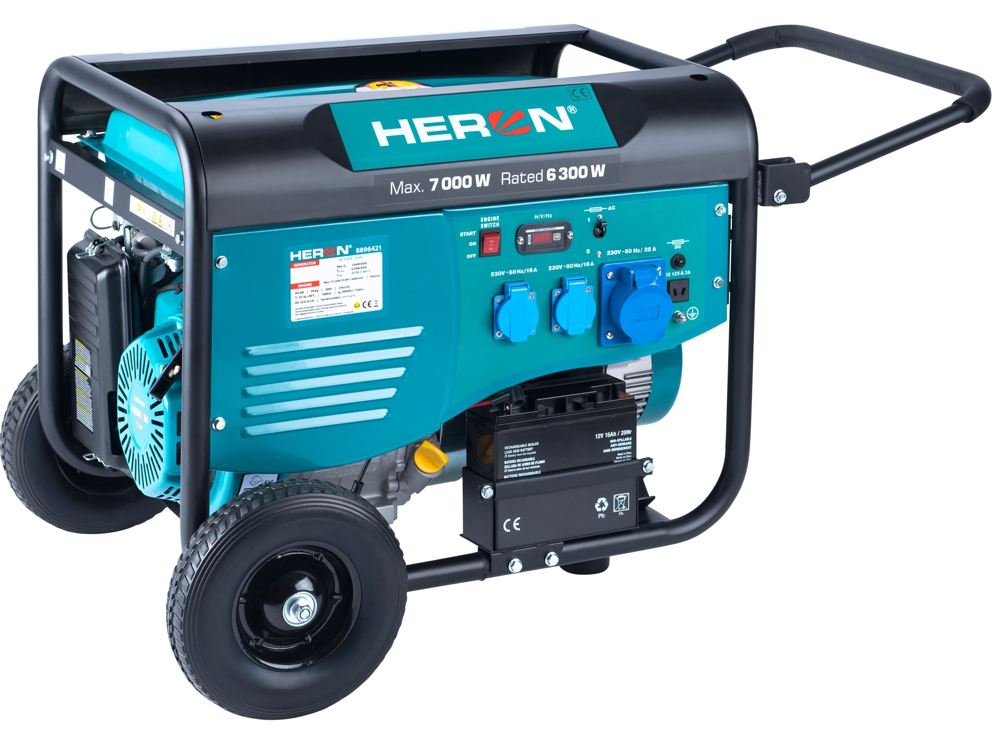 elektrocentrála benzínová 15HP/7,0kW, pro svařování, elektrický start, podvozek