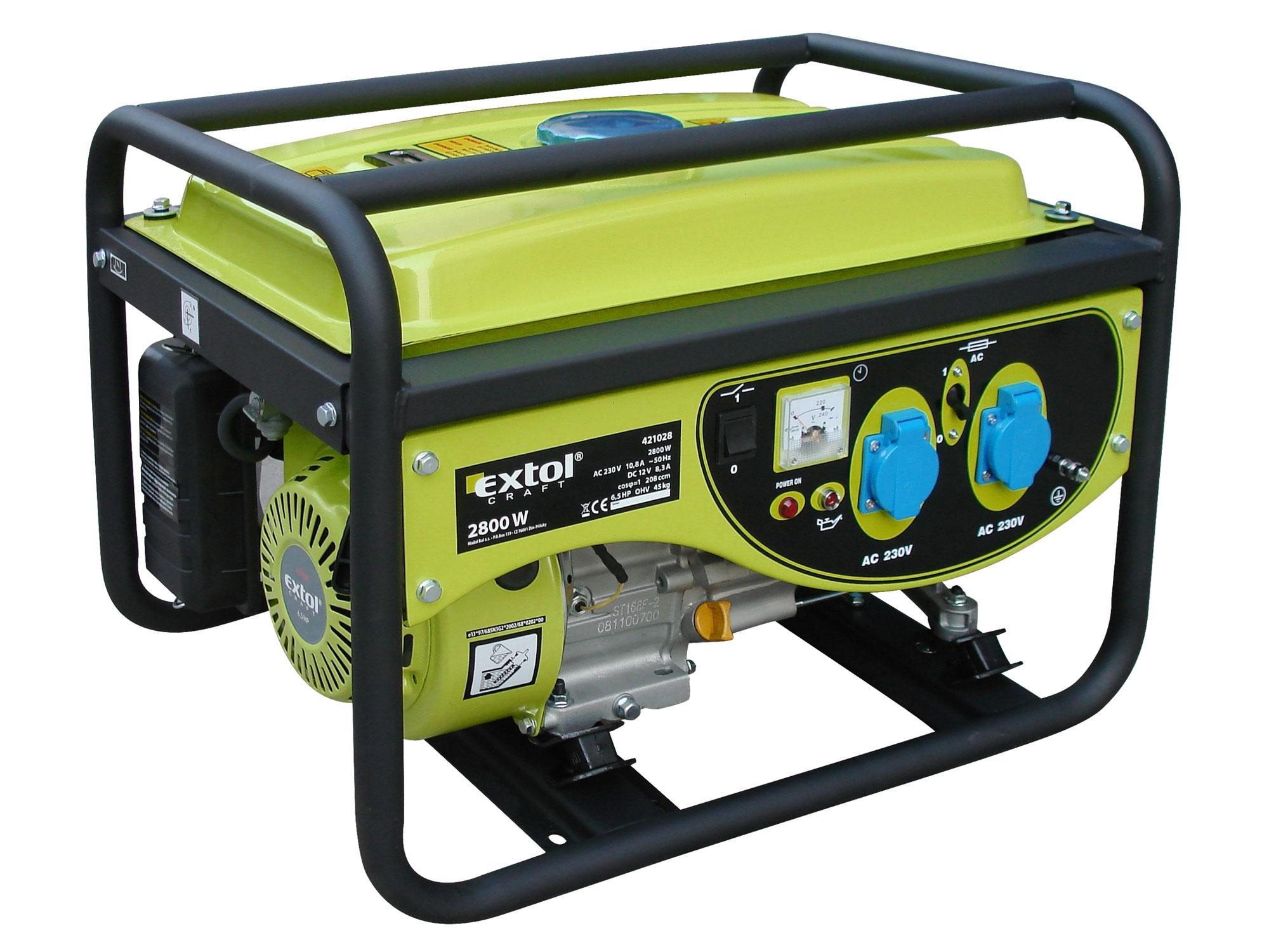 elektrocentrála benzínová 6,5HP/2,8kW, EXTOL CRAFT 421028