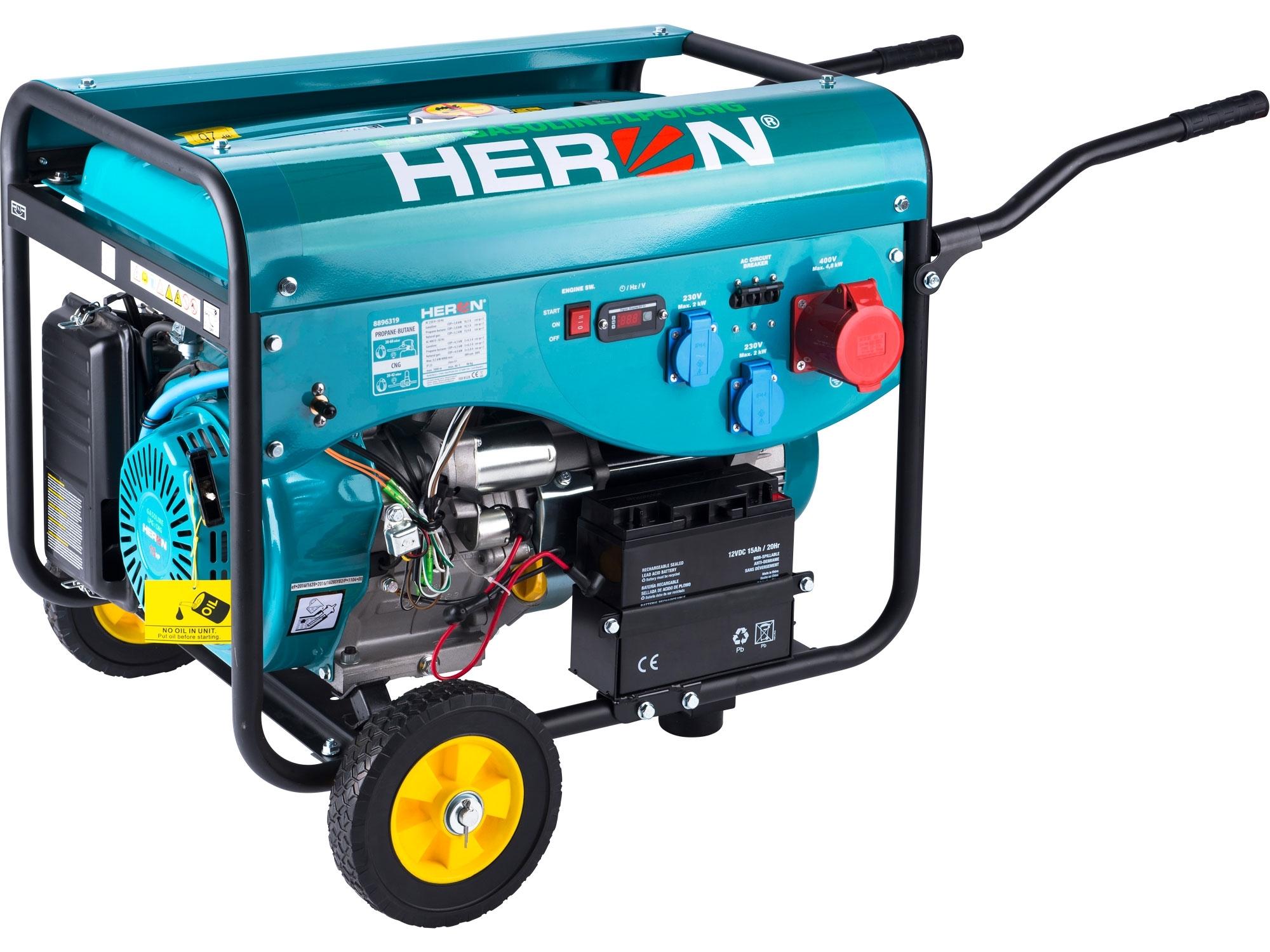 elektrocentrála benzínová a plynová (LGP/NG) 13HP/5,3kW (400V) 2x2,1kW (230V), elektrický start, HERON, LPGG 43-3F 8896319