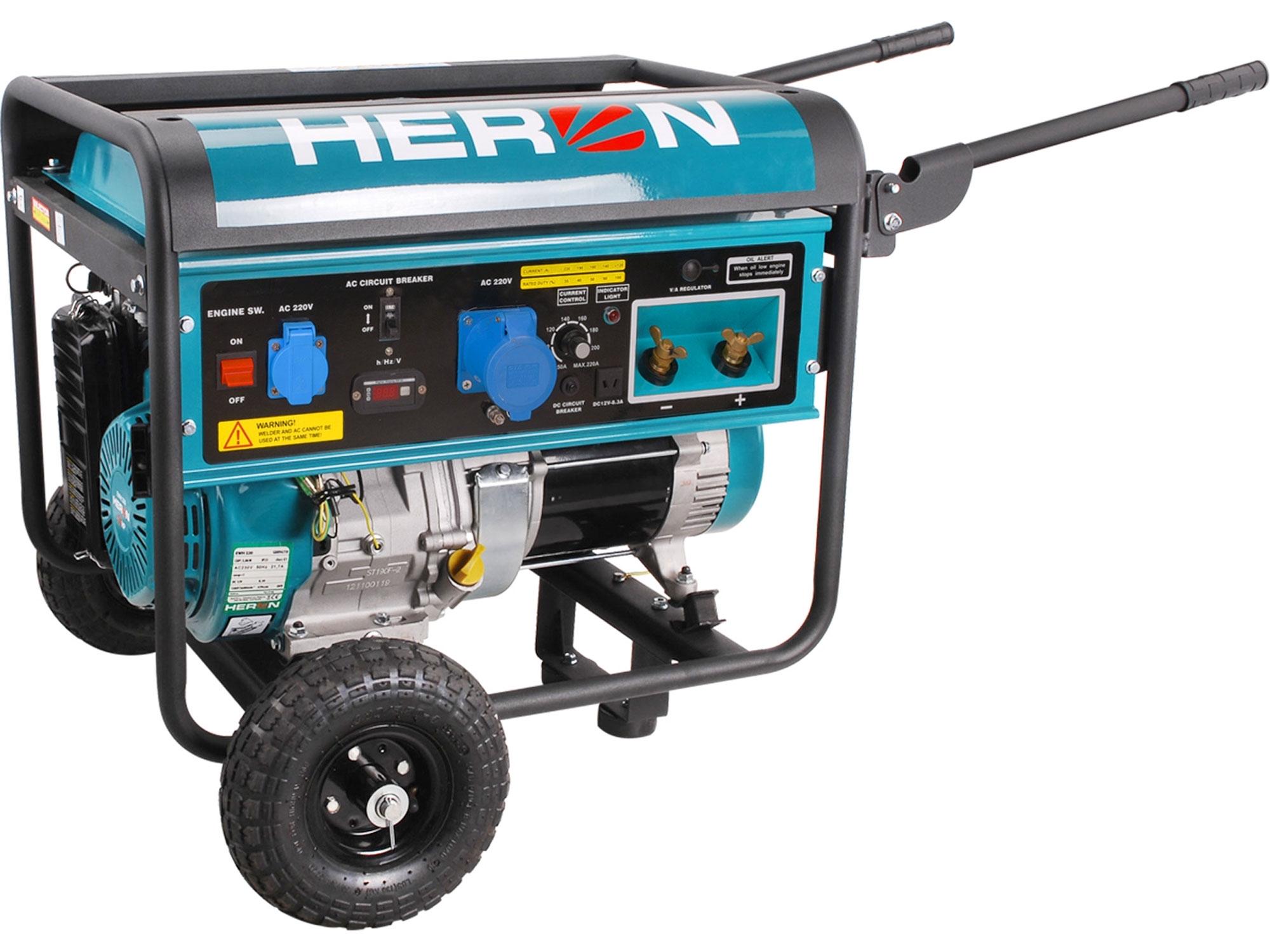 elektrocentrála se svářečkou 220A, benzínová 14HP/5,5kW, HERON, EWH 220 8896310