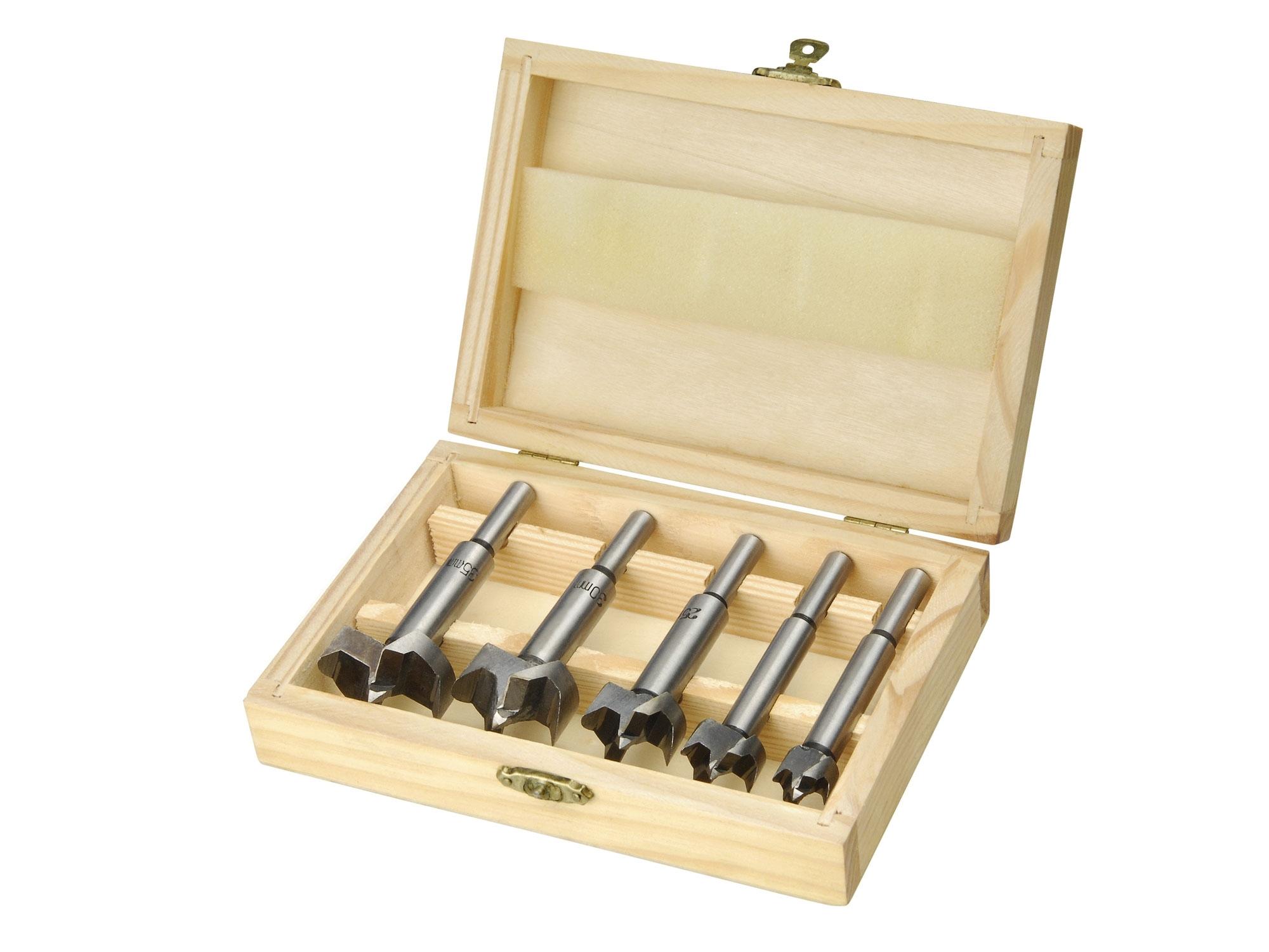 frézy-sukovníky, do dřeva, sada 5ks, ?15-20-25-30-35mm, stopka 8mm, v dřevěné kazetě, EXTOL CRAFT 44015