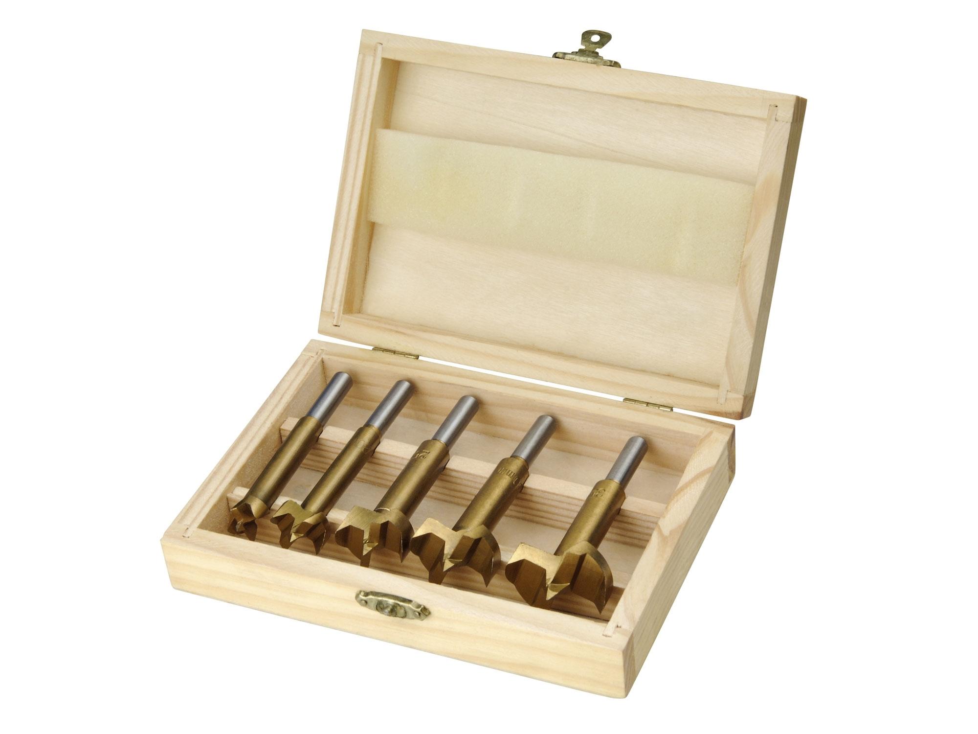 frézy-sukovníky, do dřeva, sada 5ks, ?15-20-25-30-35mm, stopka 8mm, titanová úprava, EXTOL CRAFT 44016