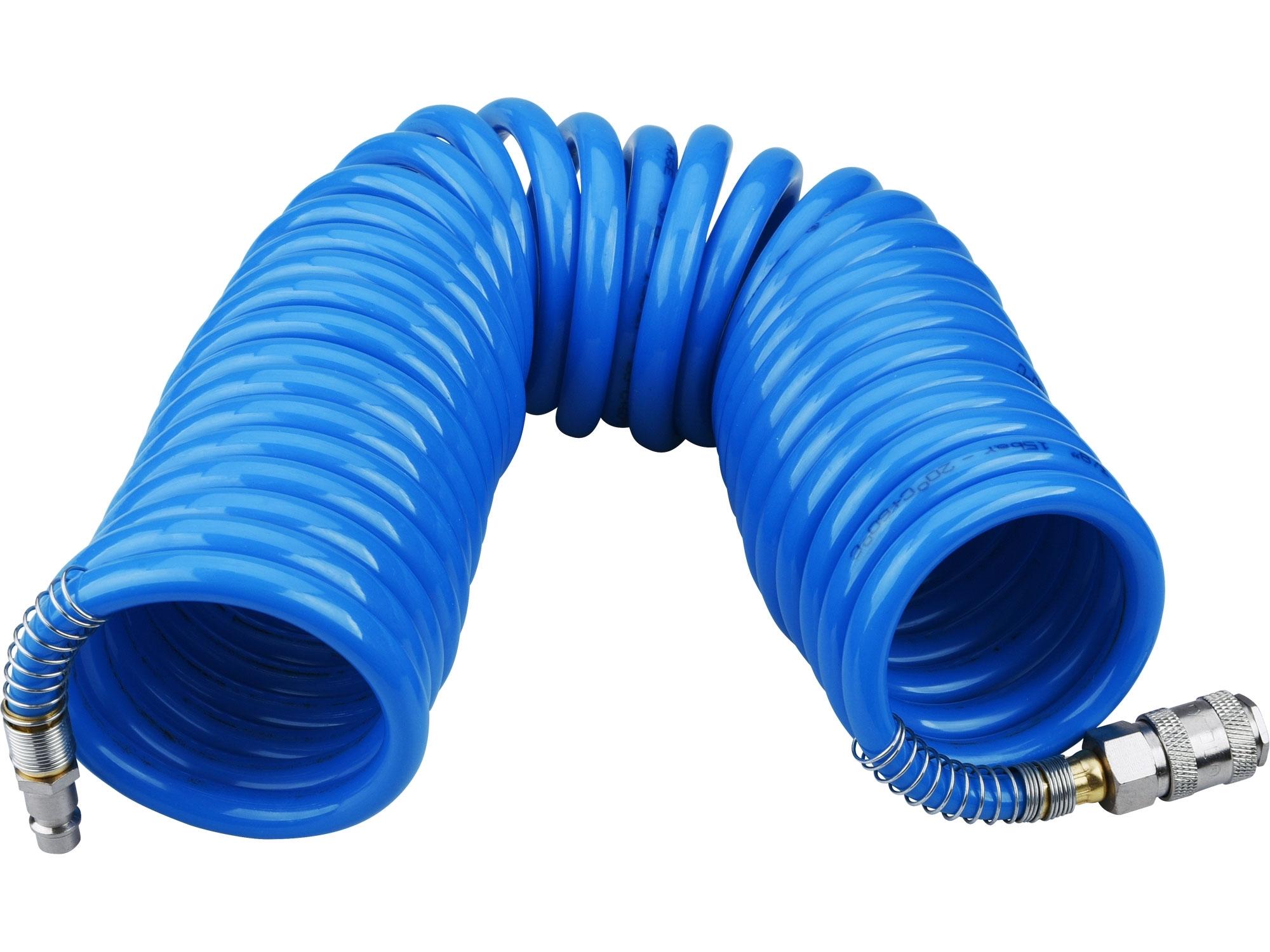 """hadice vzduchová spirálová PU s mosaznými rychlospojkami, 1/4"""", vnitřní pr.8mm, L 8m, EXTOL PREMIUM 8865135"""