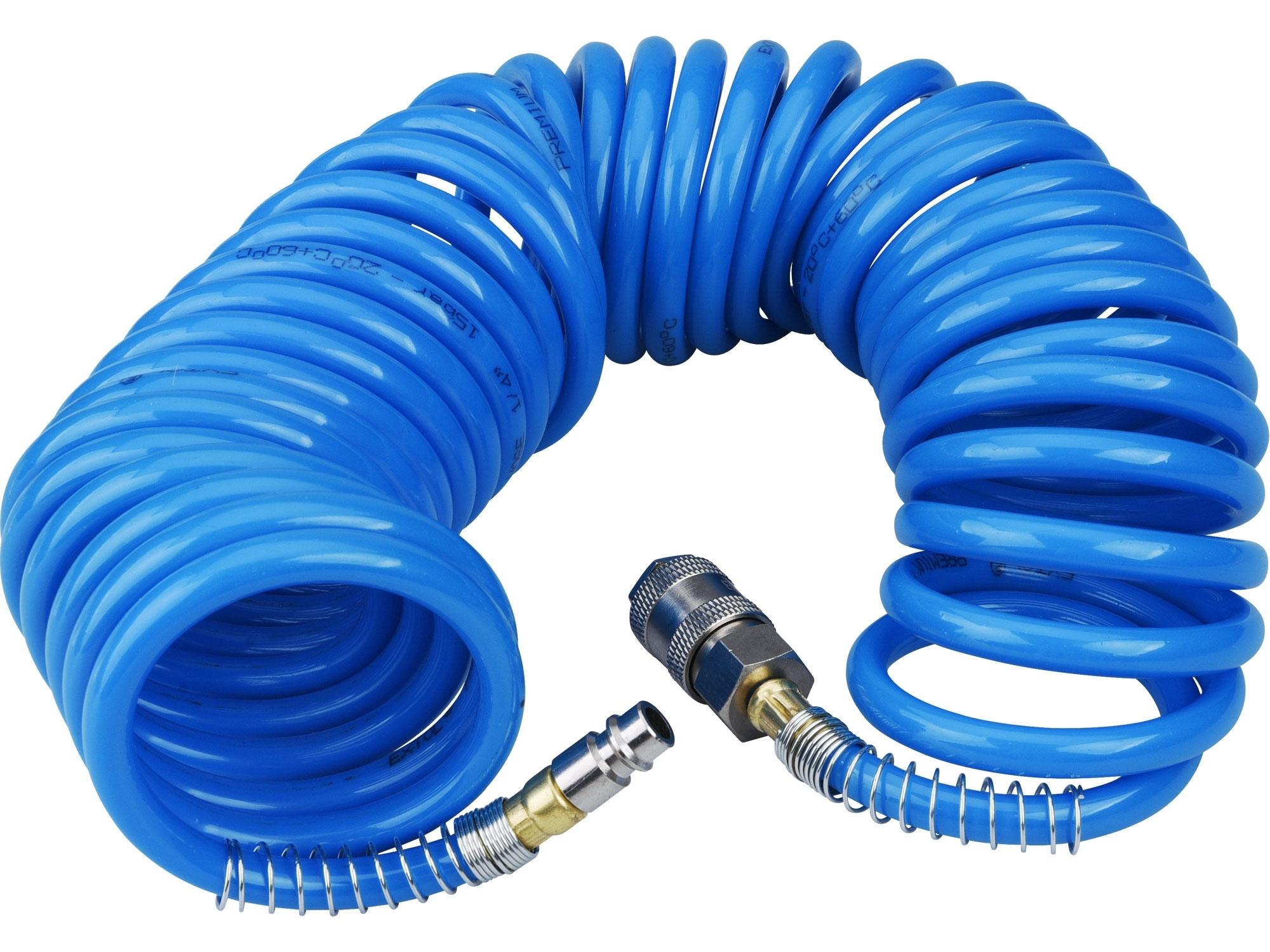 """hadice vzduchová spirálová PU s mosaznými rychlospojkami, 1/4"""", vnitřní O6mm, L 8m"""