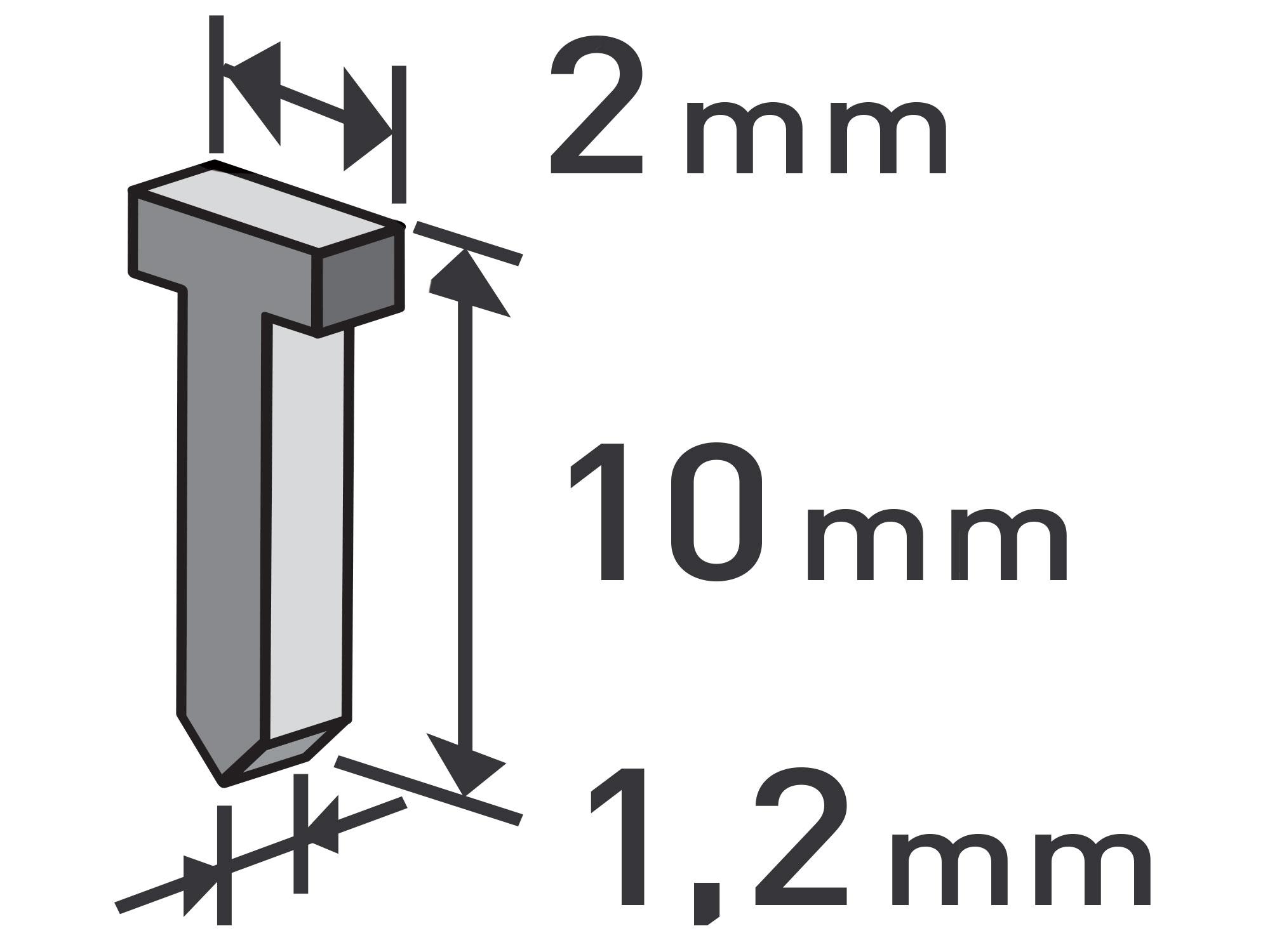 hřebíky, balení 1000ks, 10mm, 2,0x0,52x1,2mm, EXTOL PREMIUM 8852403