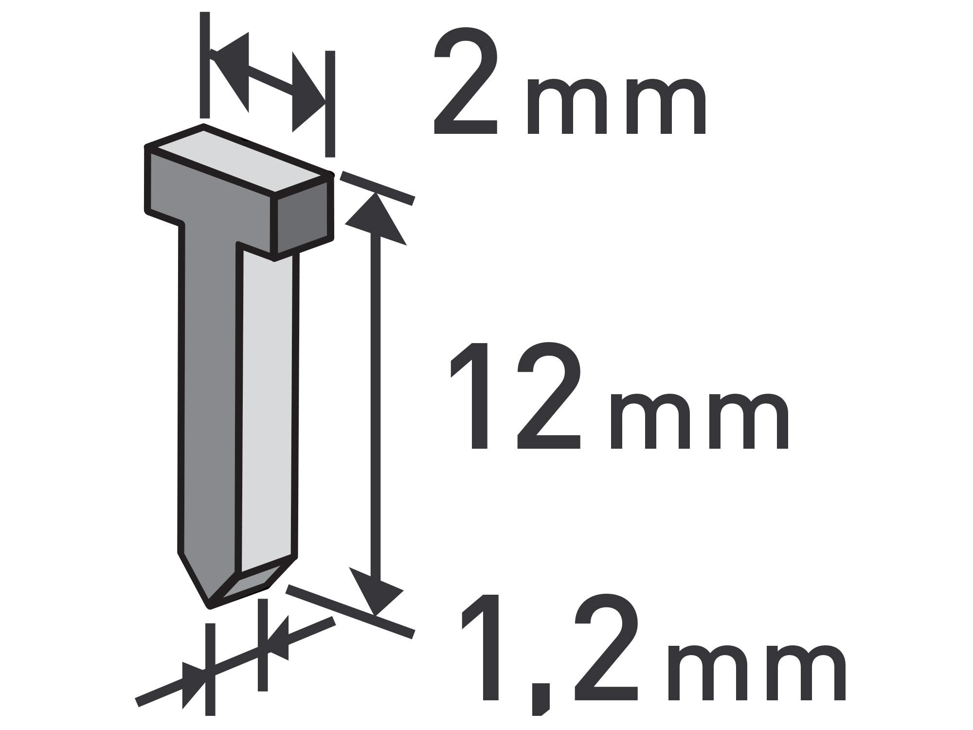 hřebíky, balení 1000ks, 12mm, 2,0x0,52x1,2mm