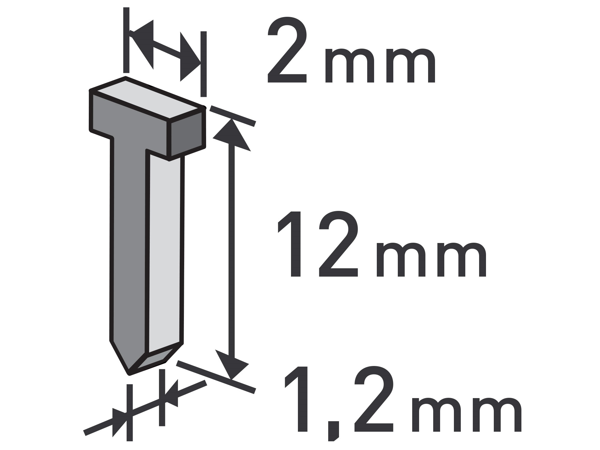 hřebíky, balení 1000ks, 12mm, 2,0x0,52x1,2mm, EXTOL PREMIUM 8852404