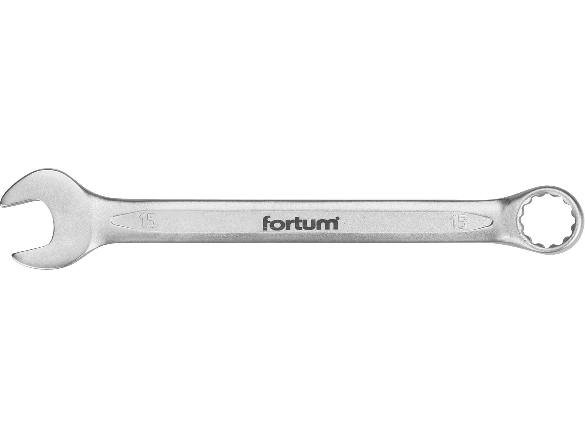 klíč očkoplochý, 15mm, L 201mm, FORTUM 4730215